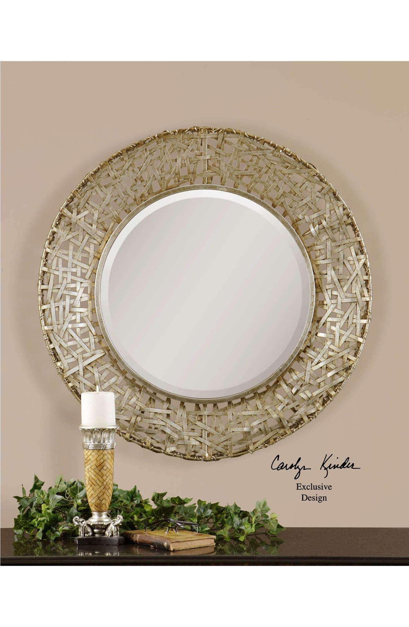 'Alita' Woven Metallic Frame Mirror,                             Alternate thumbnail 3, color,                             020