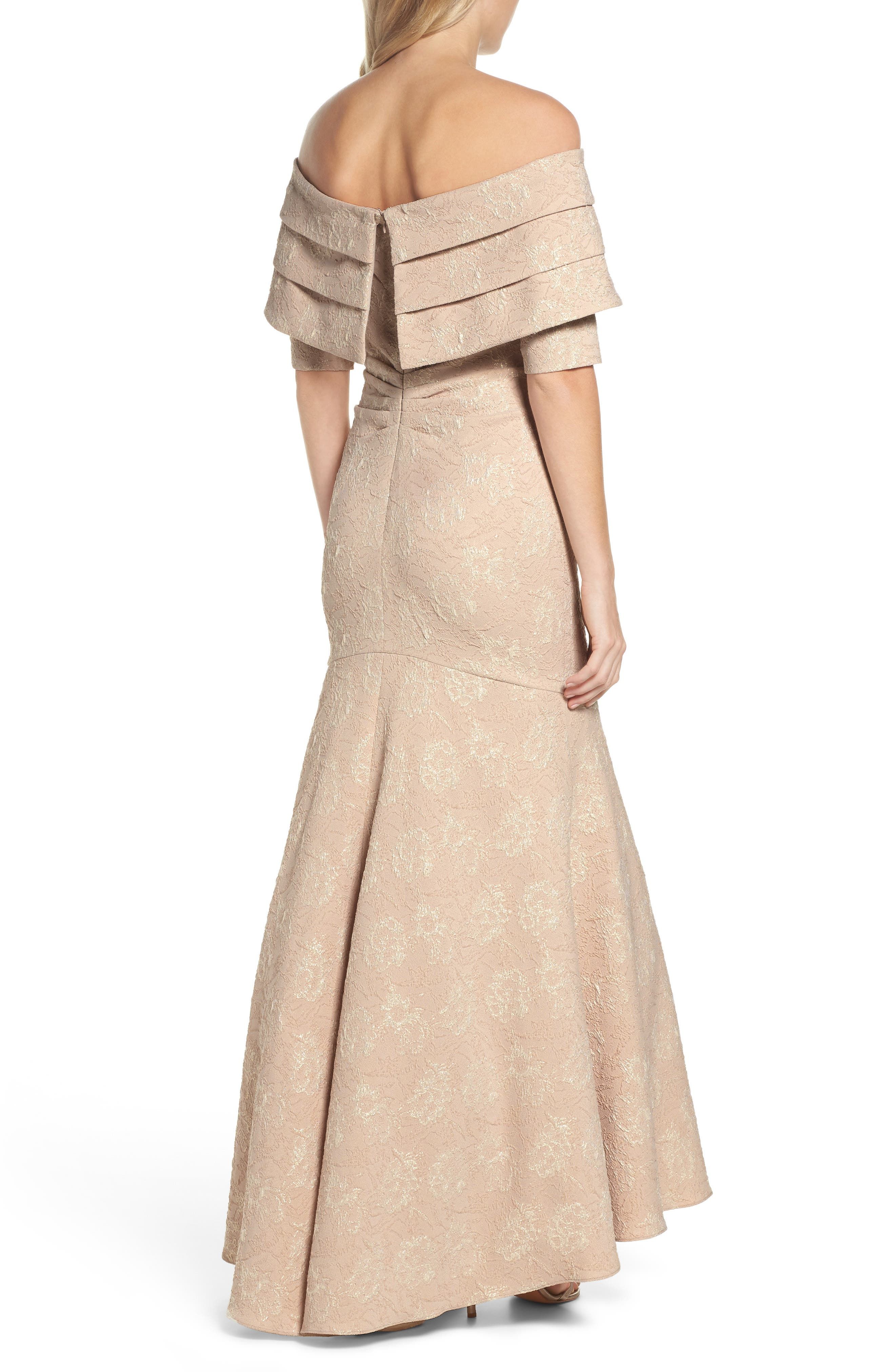Brocade Off the Shoulder Trumpet Gown,                             Alternate thumbnail 2, color,                             908