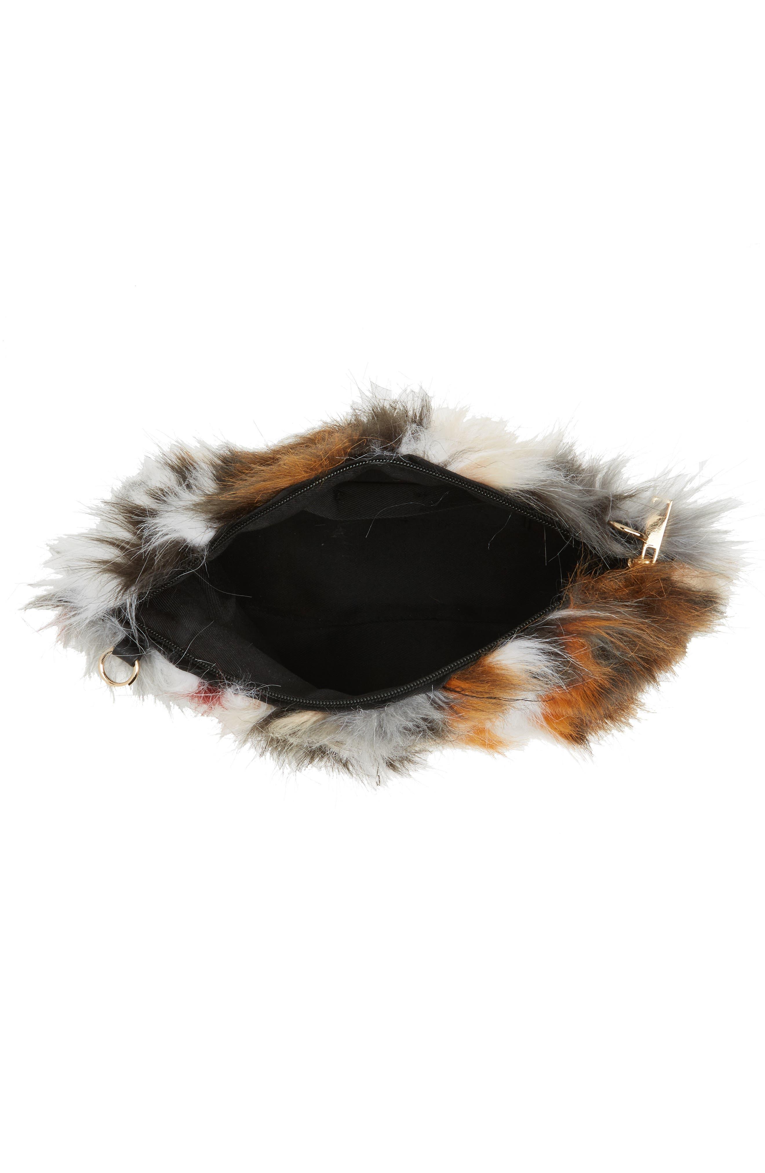 Faux Fur Clutch,                             Alternate thumbnail 7, color,