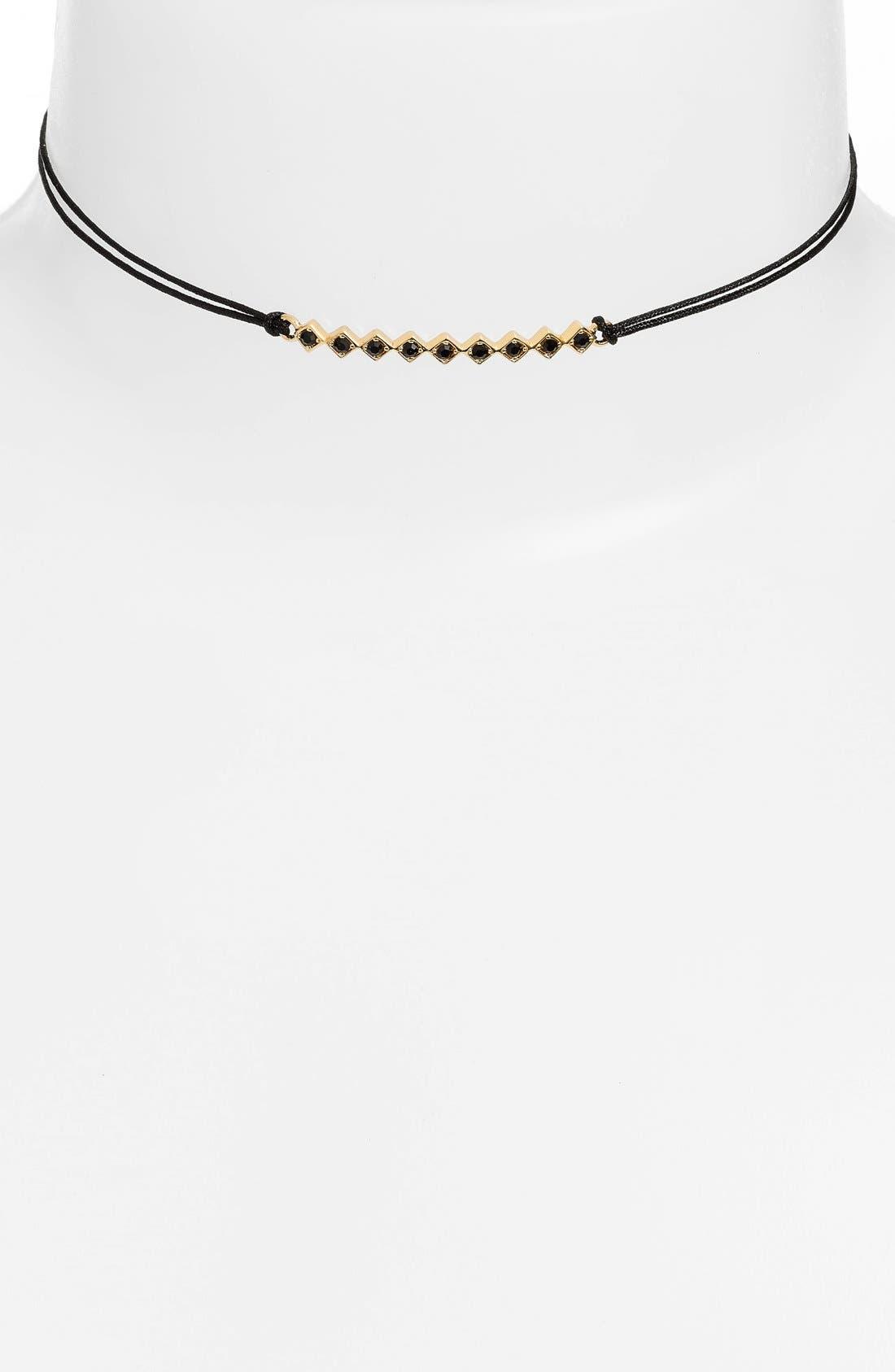 'Tulum' Crystal Bar Pendant Choker,                         Main,                         color, BLACK/ YELLOW GOLD/ BLACK