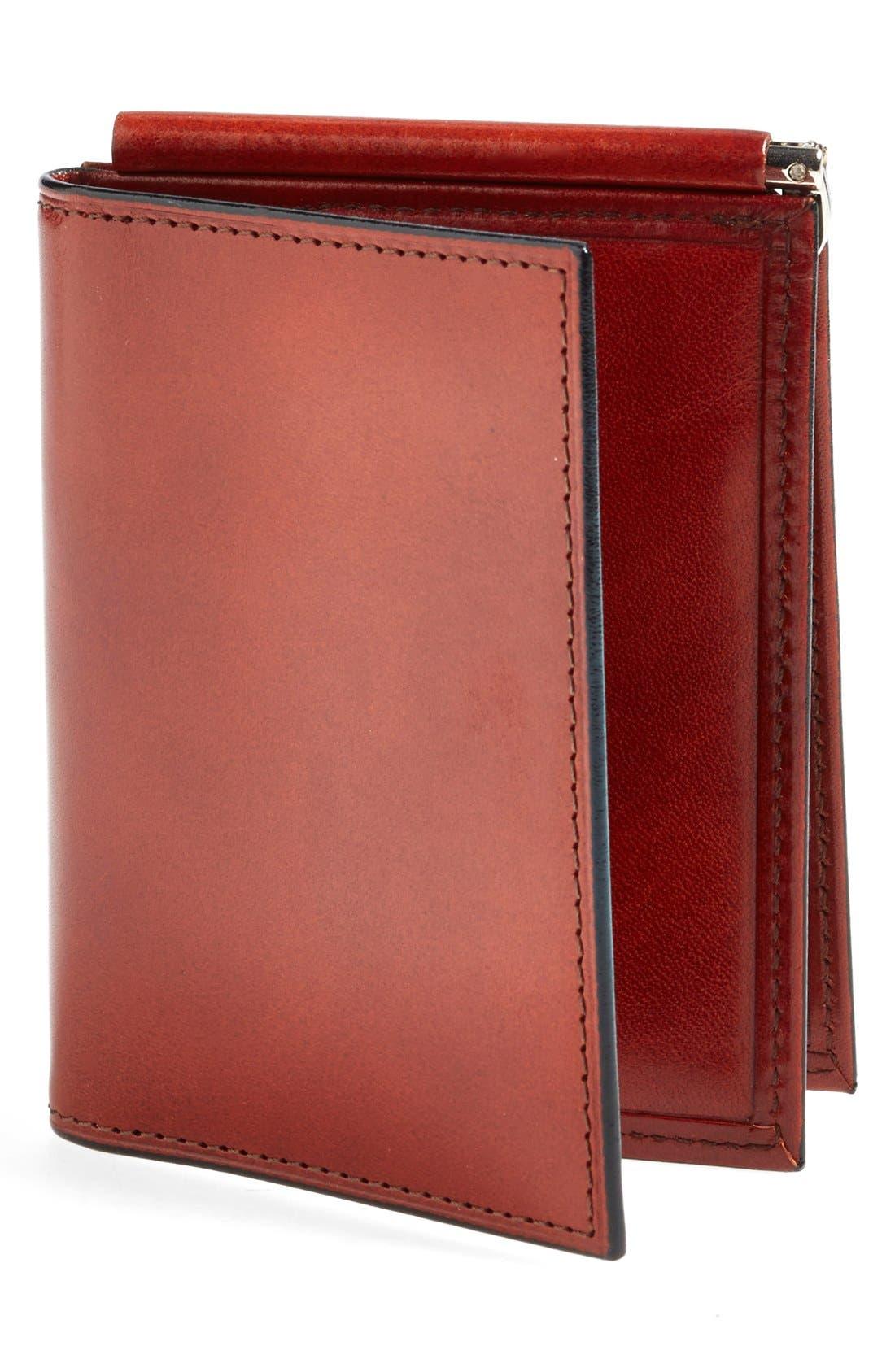 'Old Leather' Money Clip Wallet,                             Main thumbnail 1, color,                             COGNAC