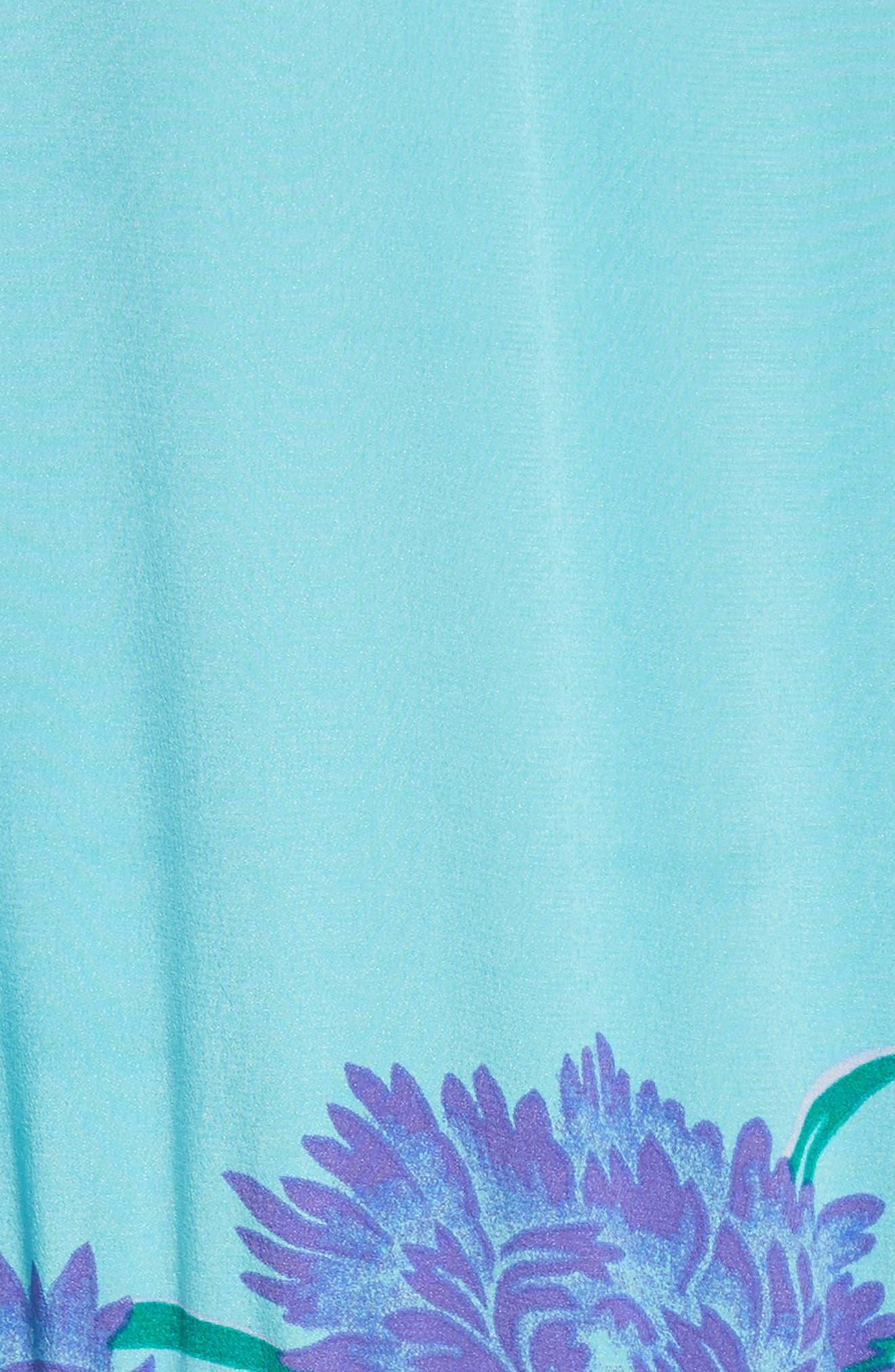 Floral Print Stretch-Silk Maxi Dress,                             Alternate thumbnail 5, color,                             445