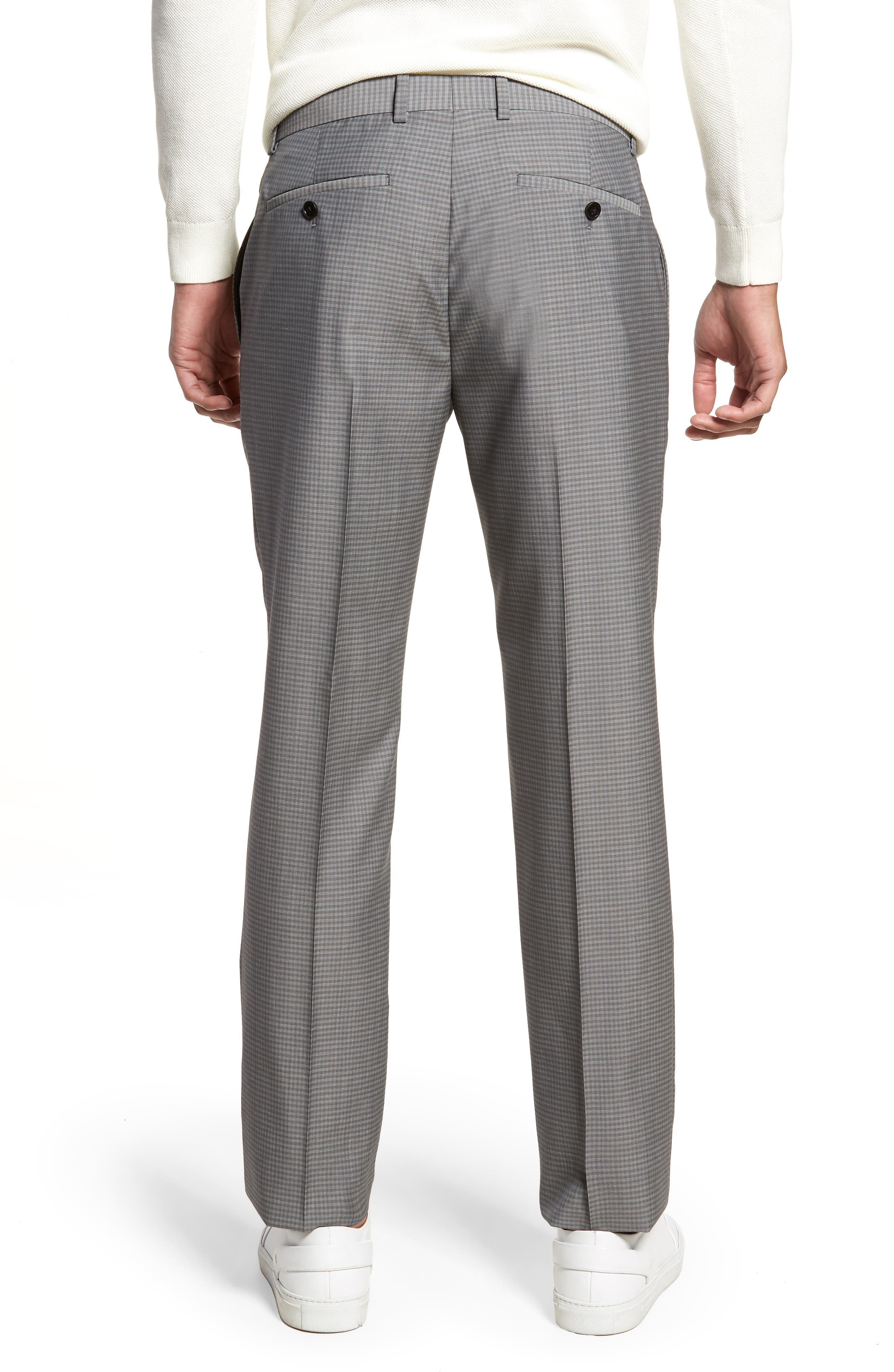 Marlo Flat Front Check Wool Trousers,                             Alternate thumbnail 2, color,                             023