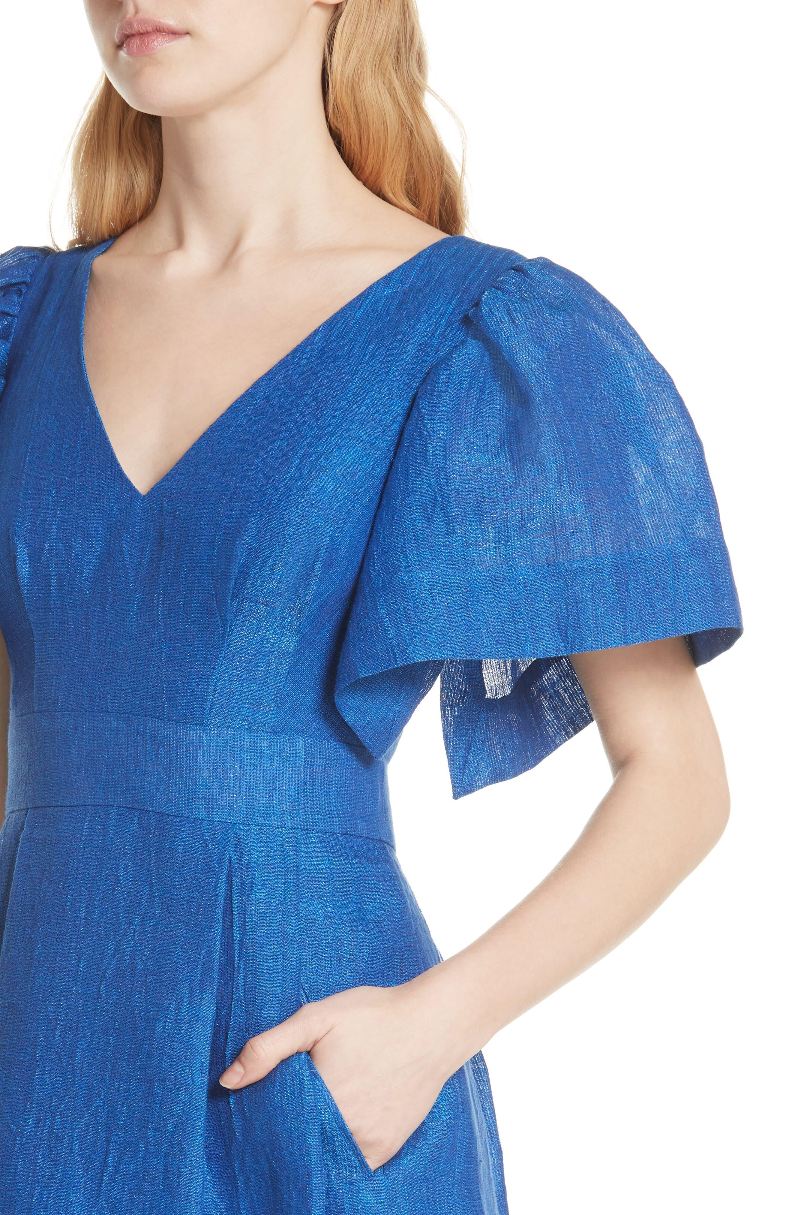 Open Sleeve Backless Linen Blend Dress,                             Alternate thumbnail 4, color,                             409