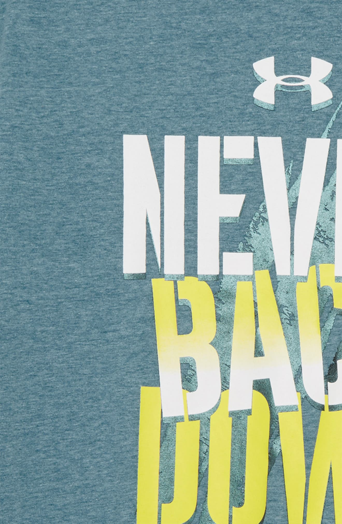 Never Back Down HeatGear<sup>®</sup> Graphic T-Shirt,                             Alternate thumbnail 6, color,