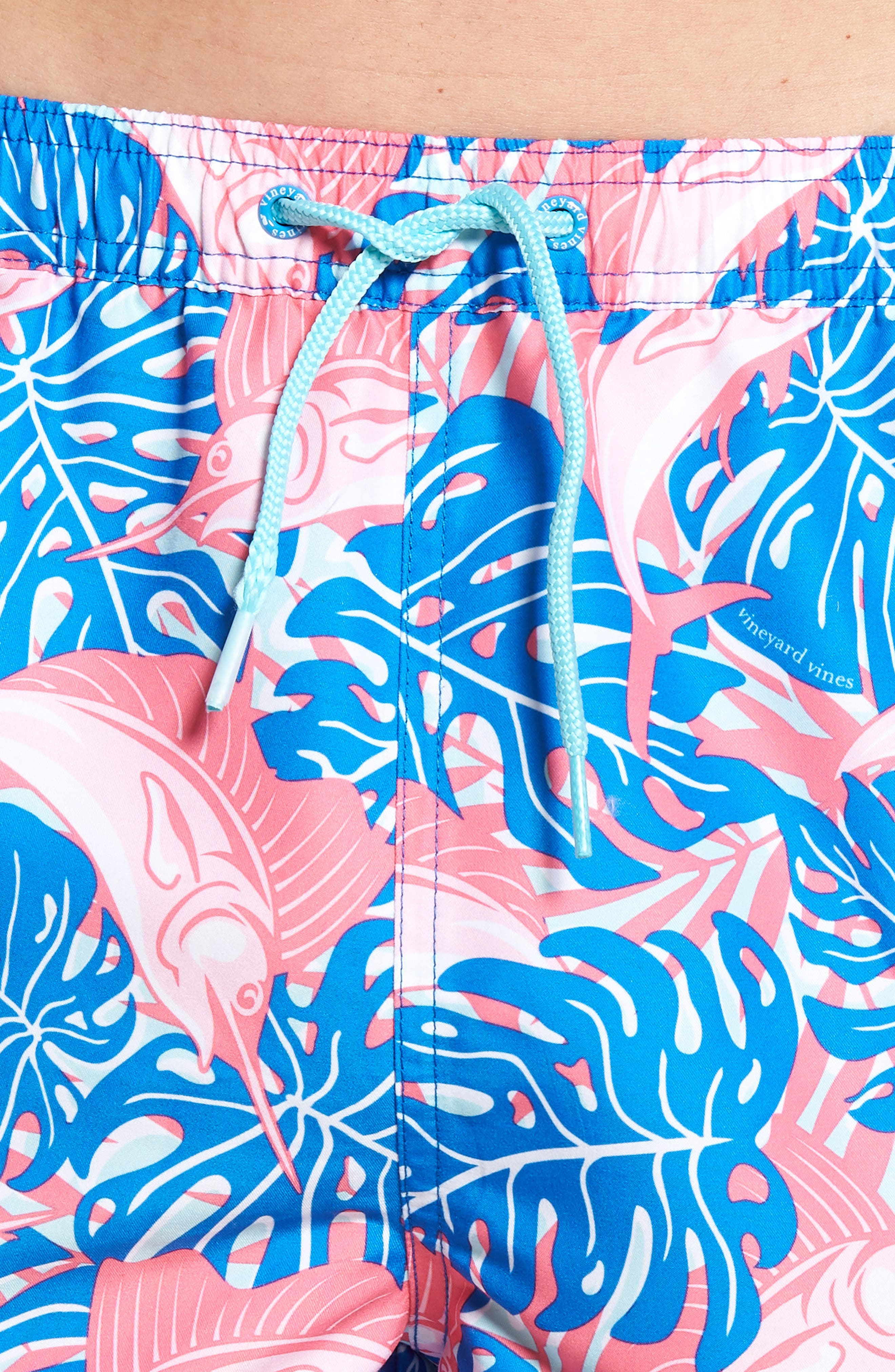 Sailfish & Leaves Chappy Swim Trunks,                             Alternate thumbnail 4, color,                             474
