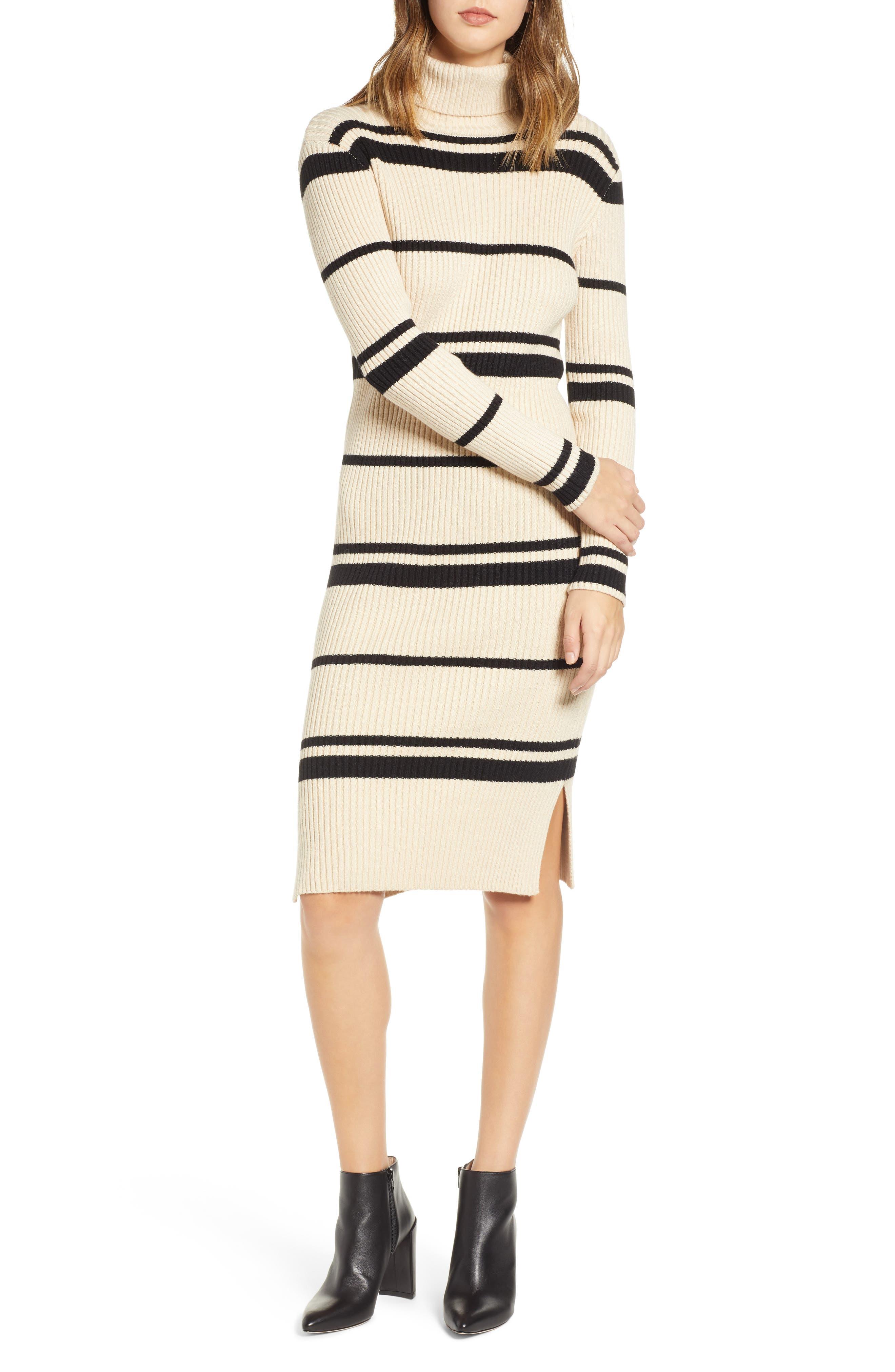 JOA Stripe Turtleneck Dress in Cream/ Black