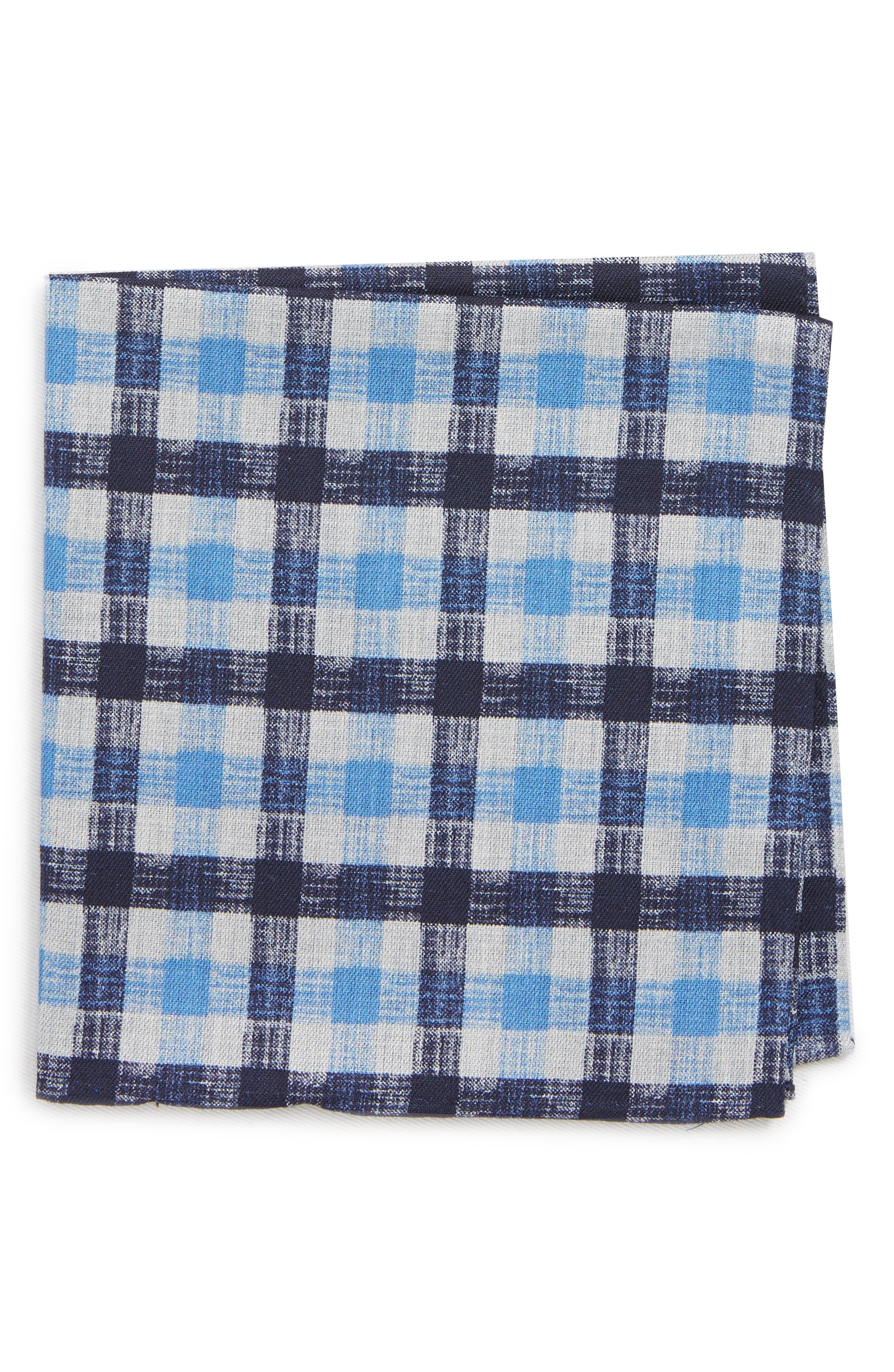 Check Silk Pocket Square,                             Main thumbnail 1, color,                             BLUE