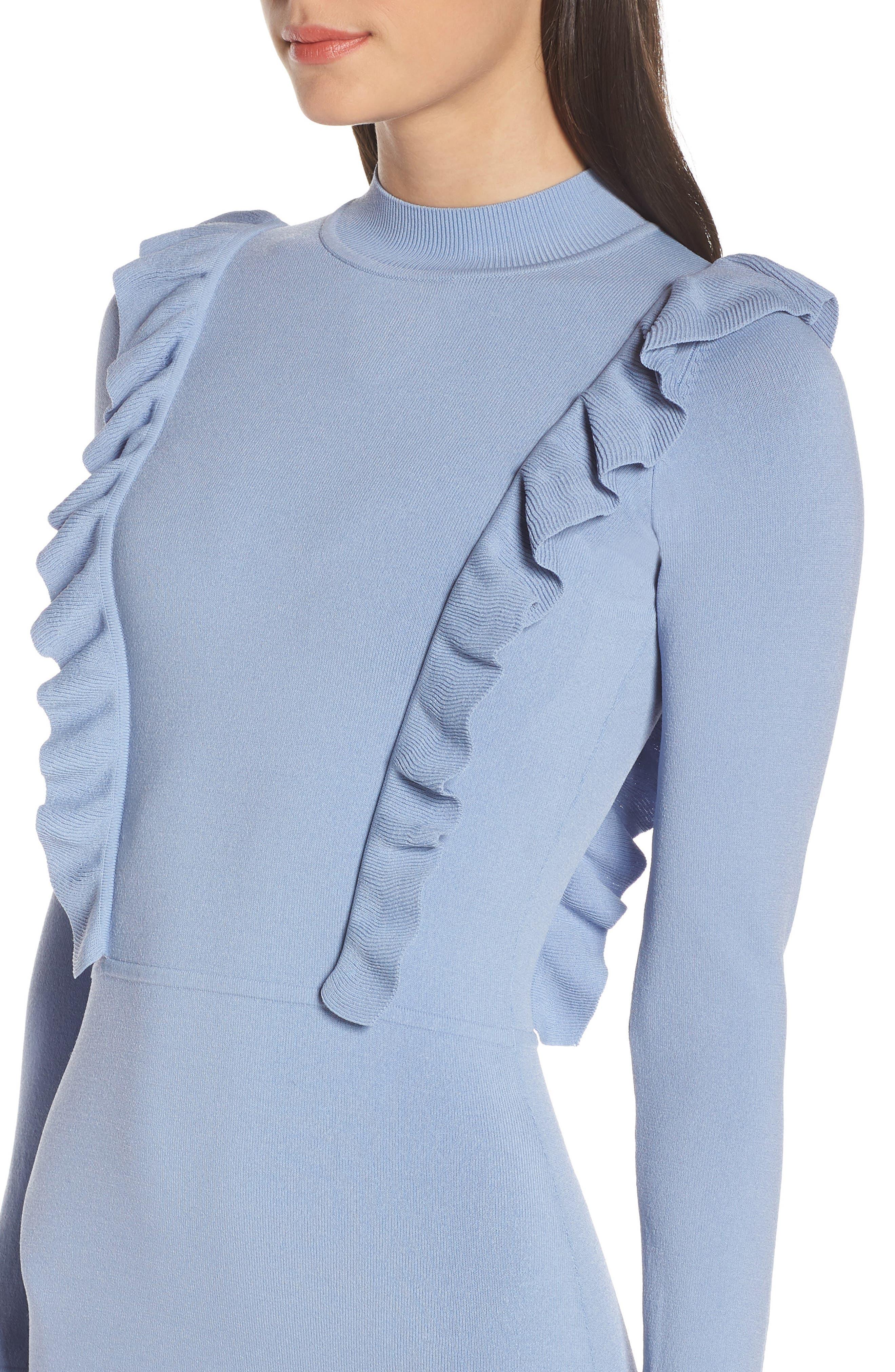 Rose Garden Sweater Dress,                             Alternate thumbnail 4, color,                             CHAMBRAY
