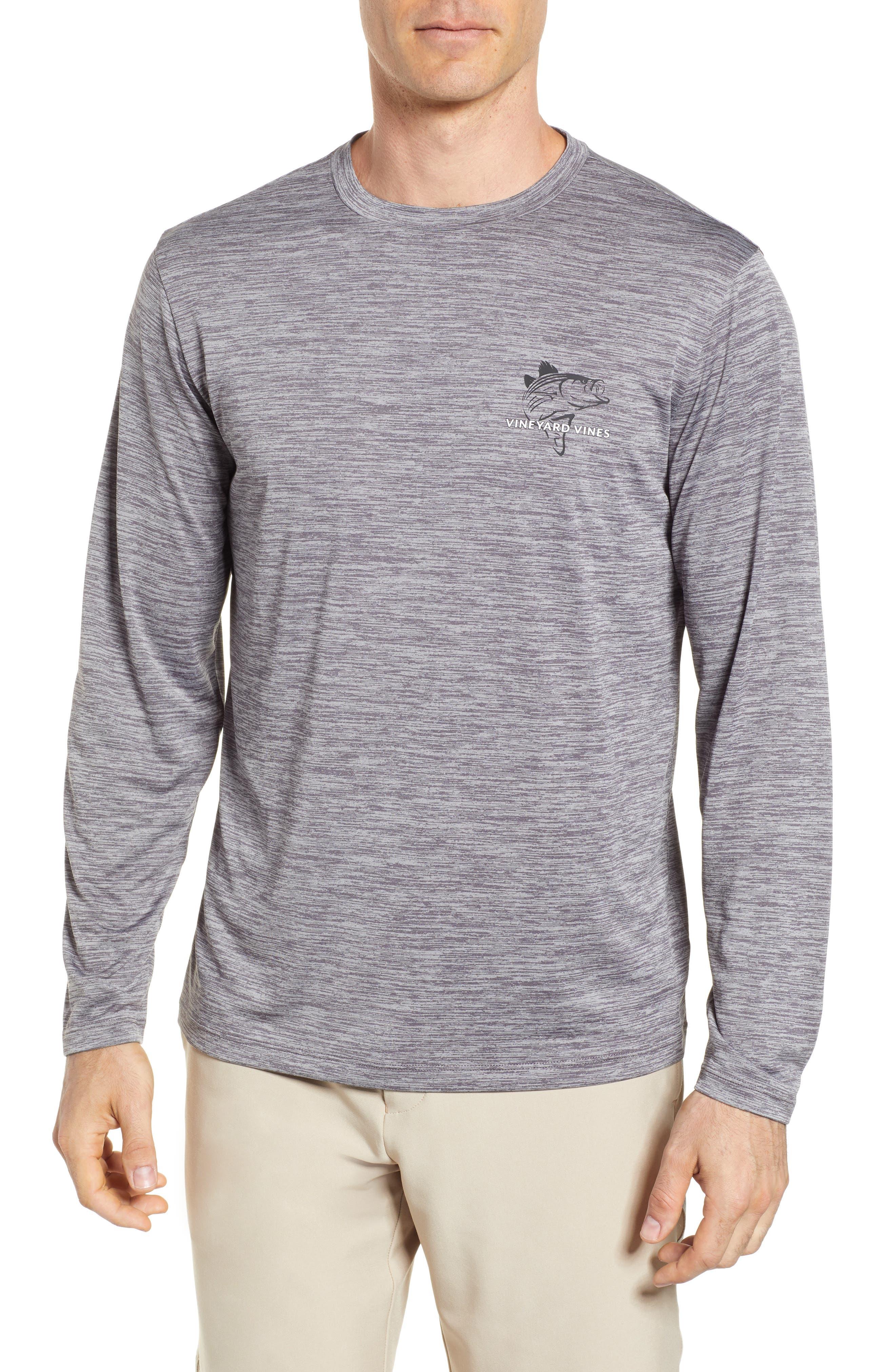 Performance Stripe Bass Long Sleeve T-Shirt,                         Main,                         color,