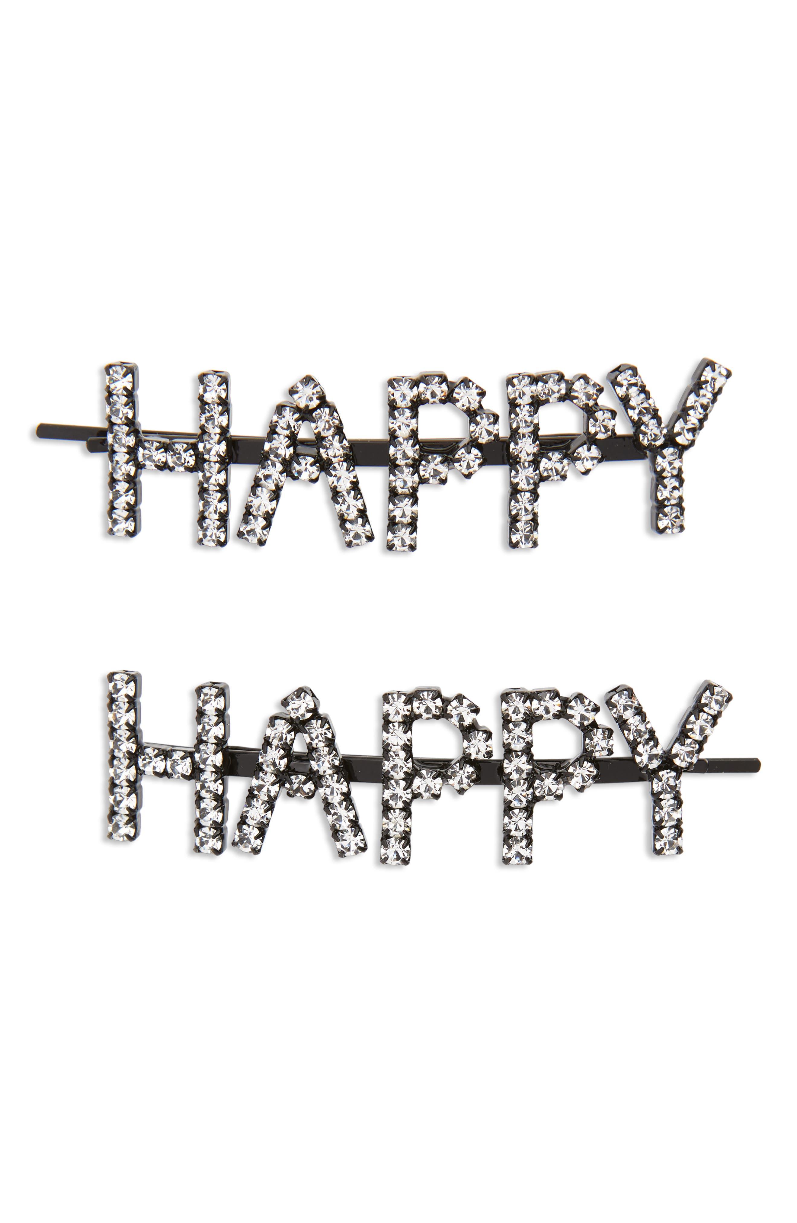Happy Set of 2 Crystal Bobby Pins,                             Main thumbnail 1, color,                             040