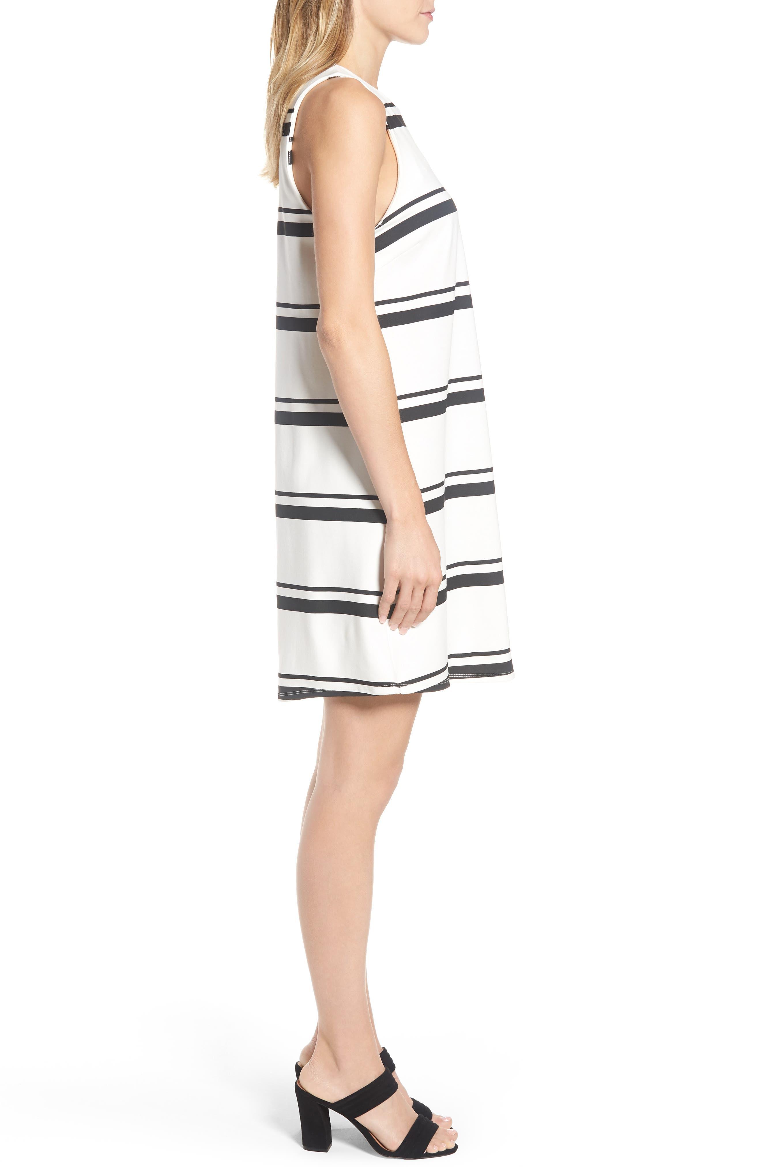 Stripe Swing Dress,                             Alternate thumbnail 3, color,                             001