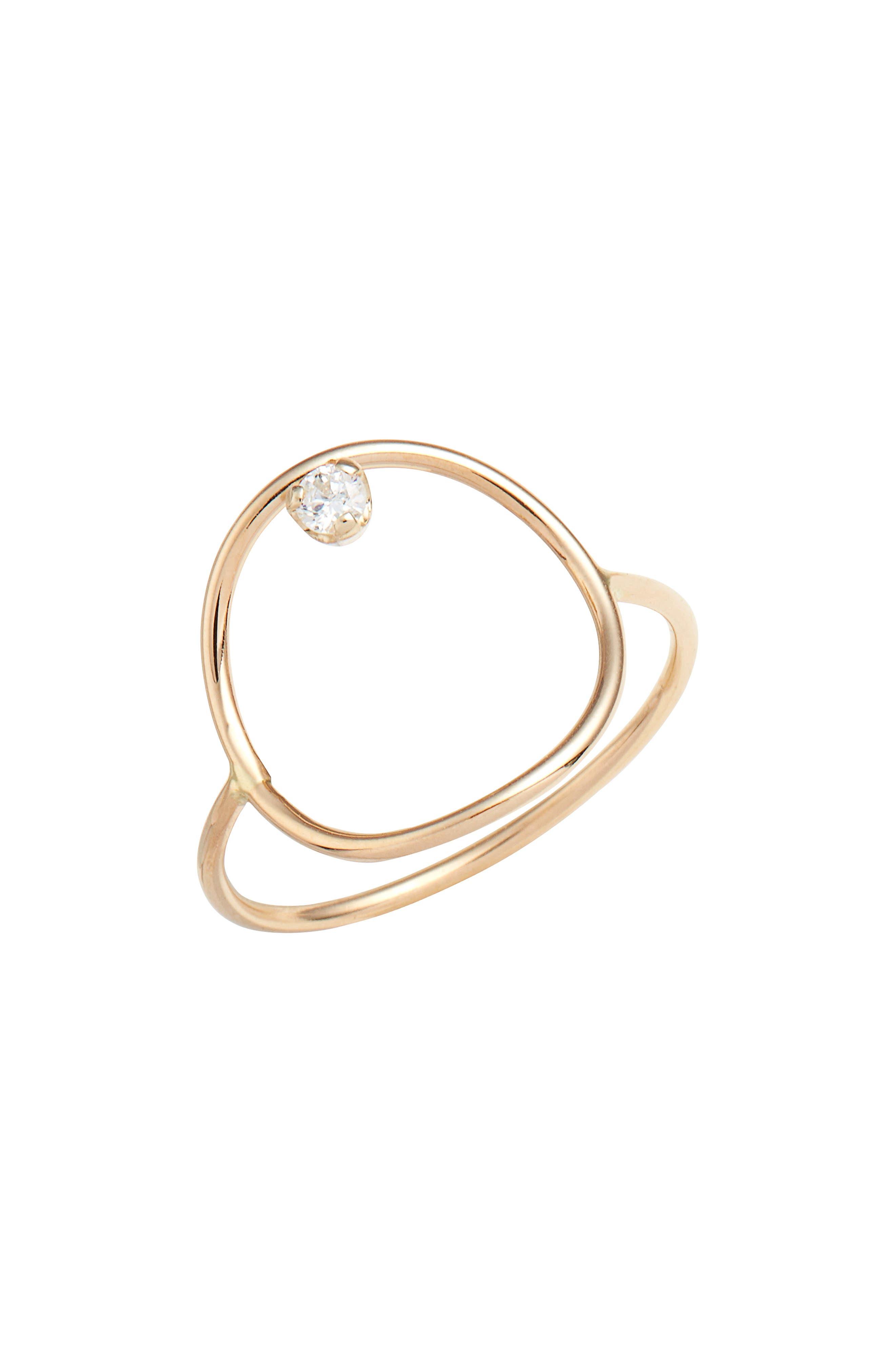 Diamond Circle Ring,                             Main thumbnail 1, color,                             YELLOW GOLD/ OPAL