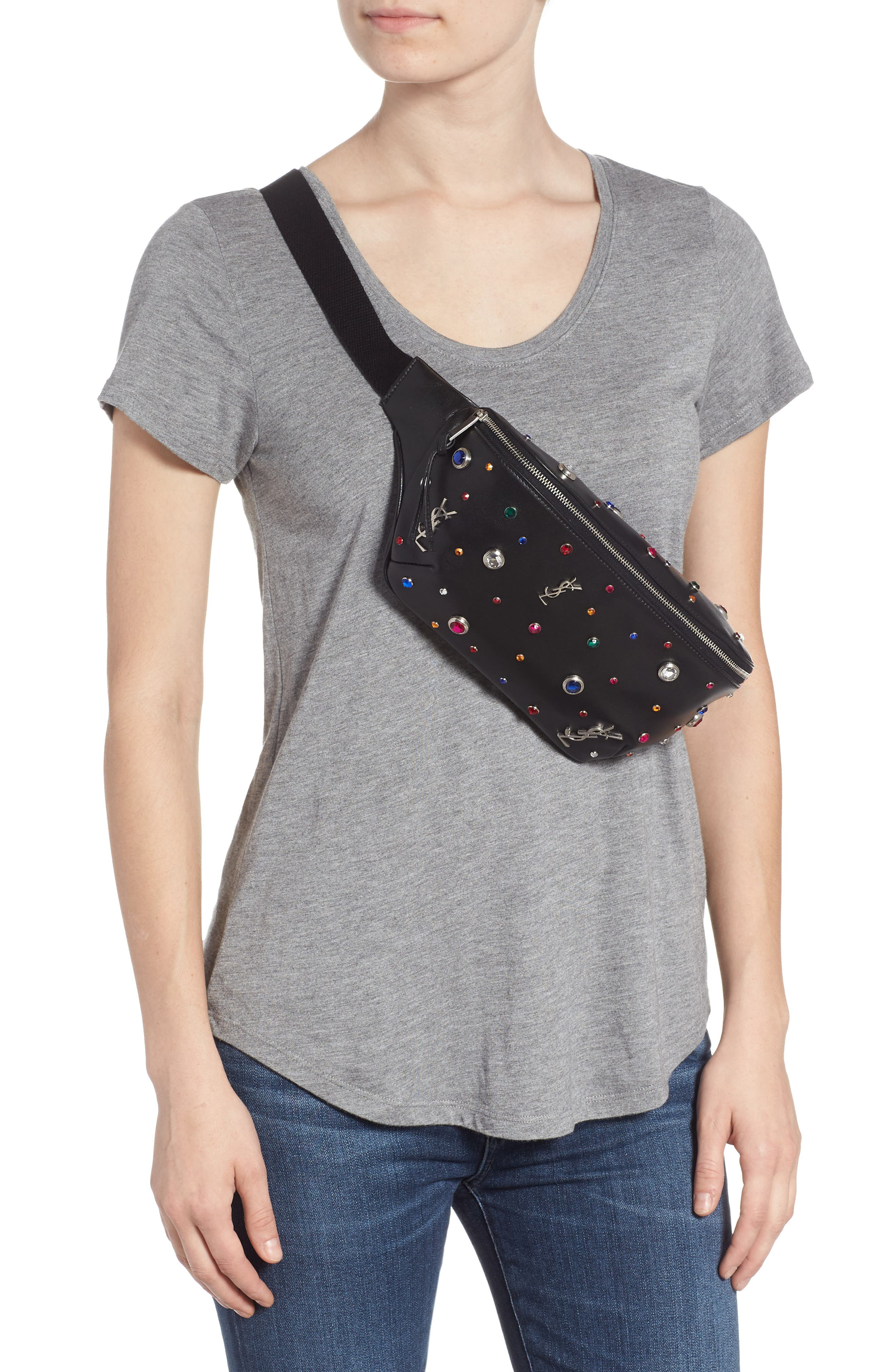 Monogram Studded Leather Belt Bag,                             Alternate thumbnail 3, color,                             NOIR MULTI