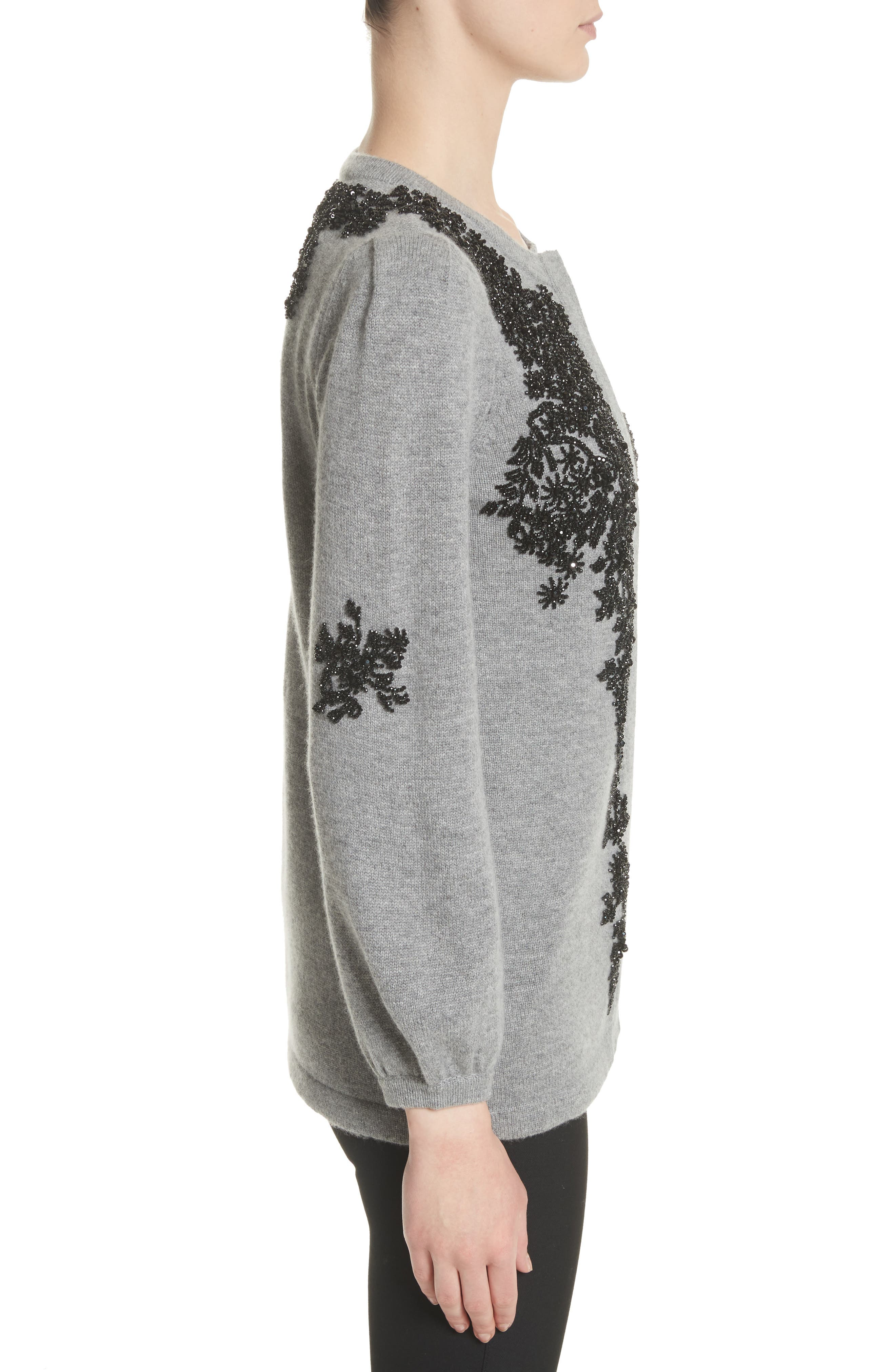Beaded Wool & Cashmere Sweater,                             Alternate thumbnail 3, color,                             020