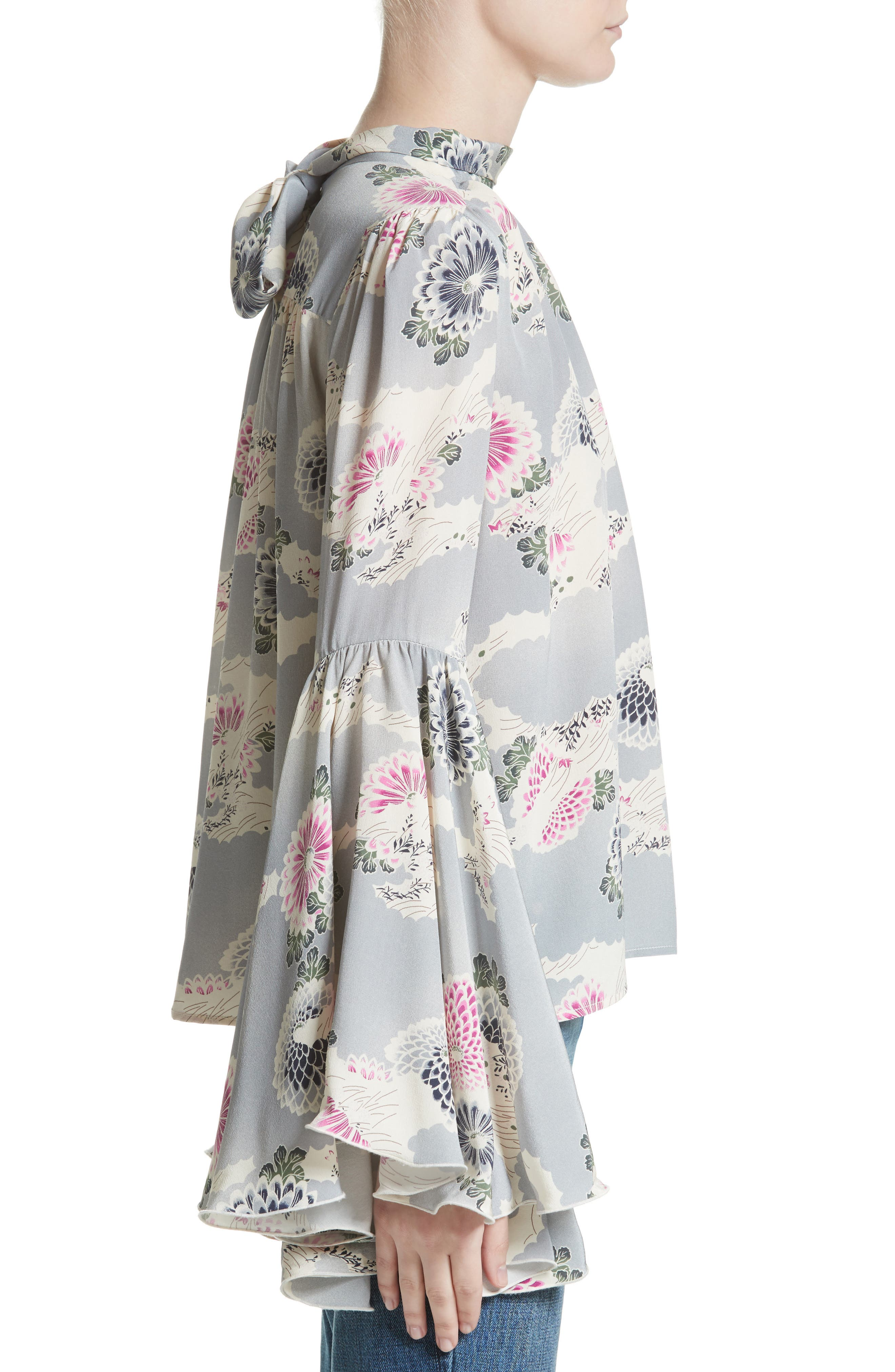 Flutter Sleeve Floral Print Silk Blouse,                             Alternate thumbnail 3, color,                             020