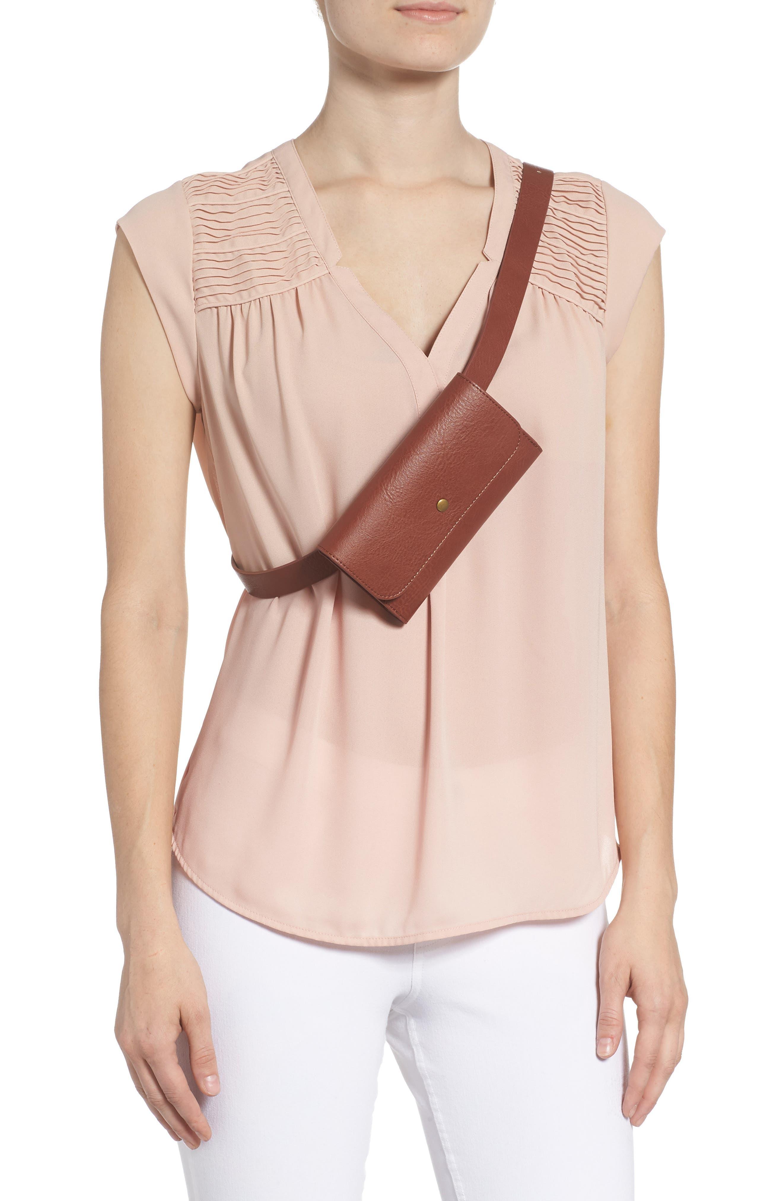 Faux Leather Belt Bag,                             Alternate thumbnail 3, color,                             COGNAC