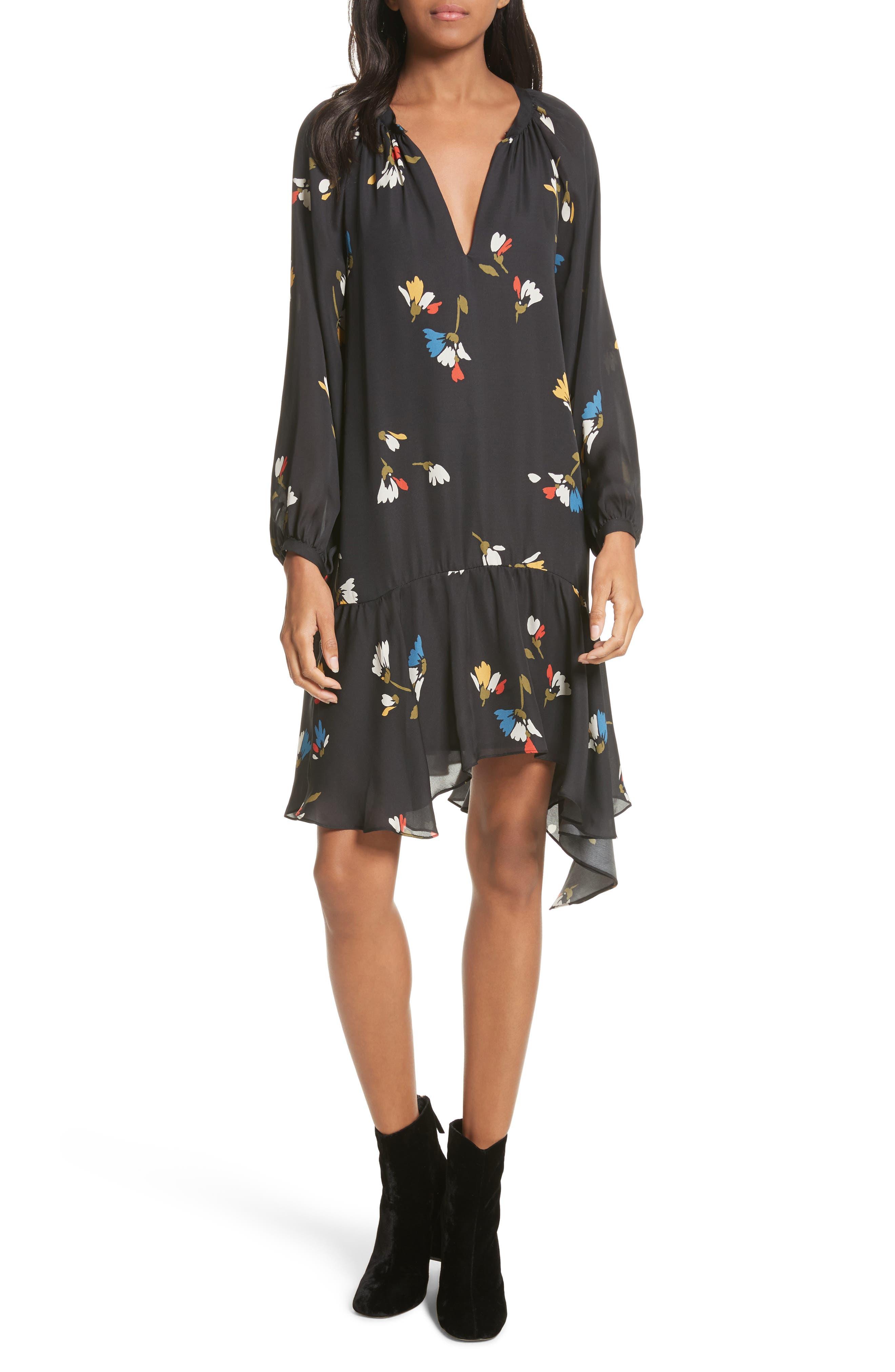 Agrafena Ruffle Hem Silk Dress,                             Main thumbnail 1, color,                             002