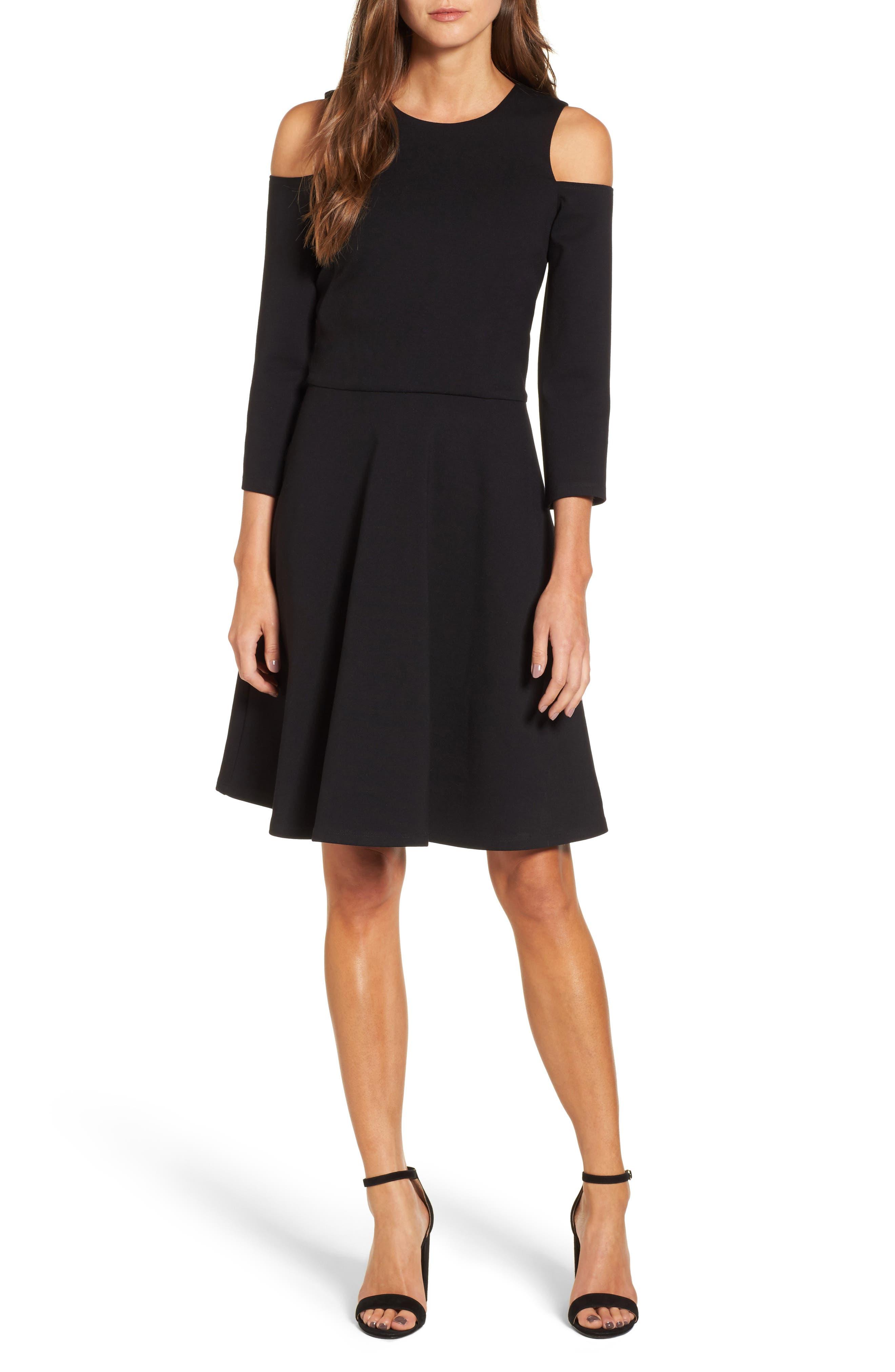 Cold Shoulder Fit & Flare Dress,                             Alternate thumbnail 5, color,                             001