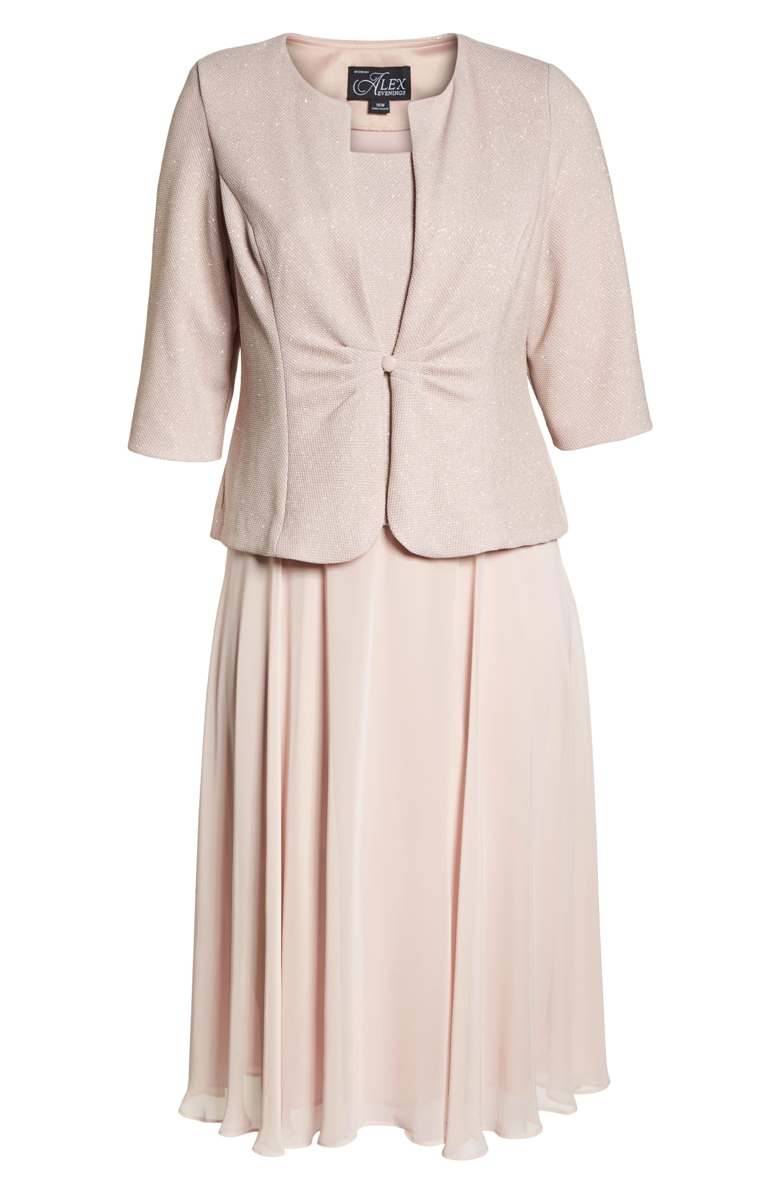 Glitter Tea Length A-Line Dress with Jacket,                             Alternate thumbnail 6, color,                             680