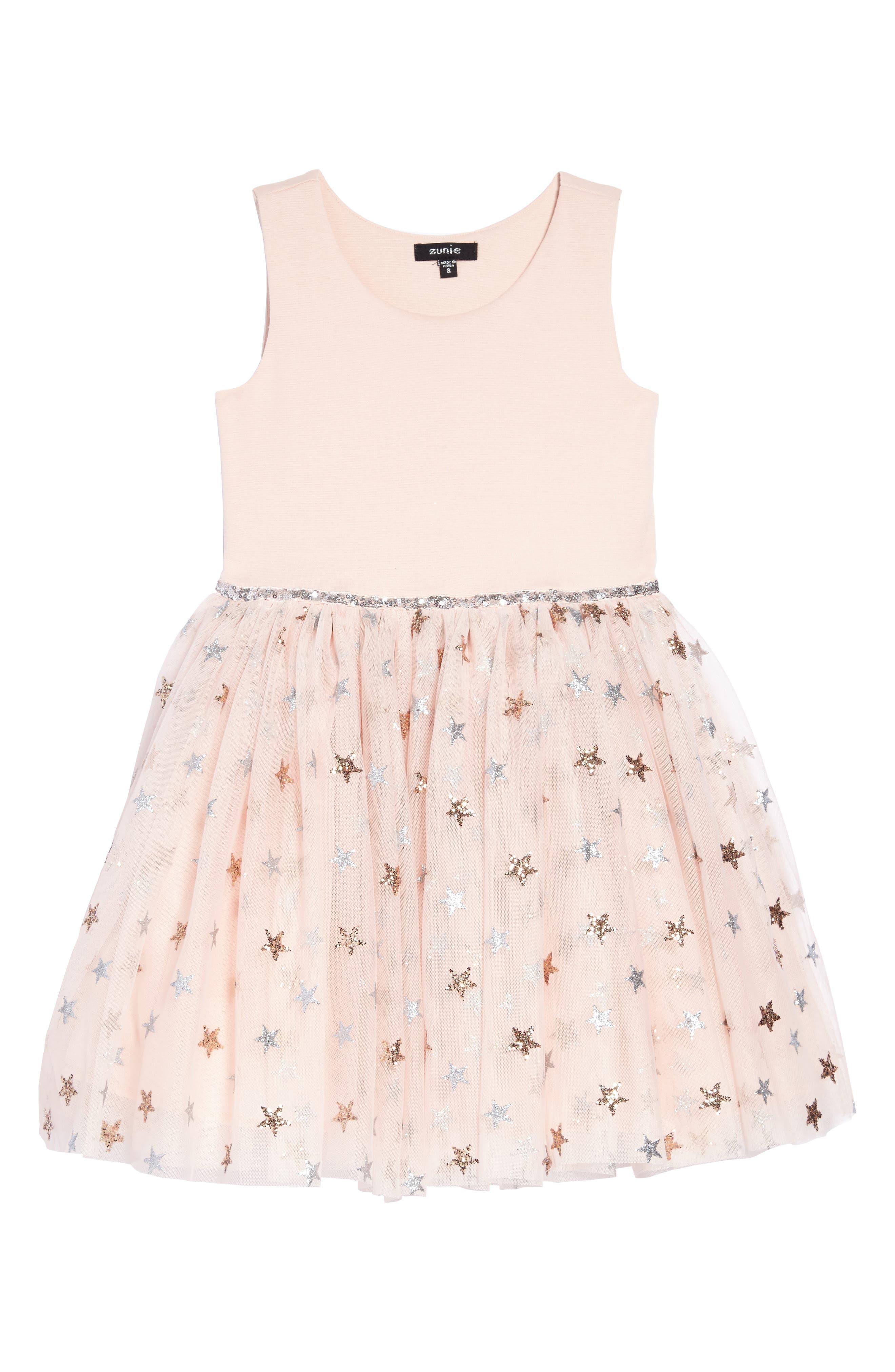 Glitter Star Ponte & Tulle Dress,                         Main,                         color, 686