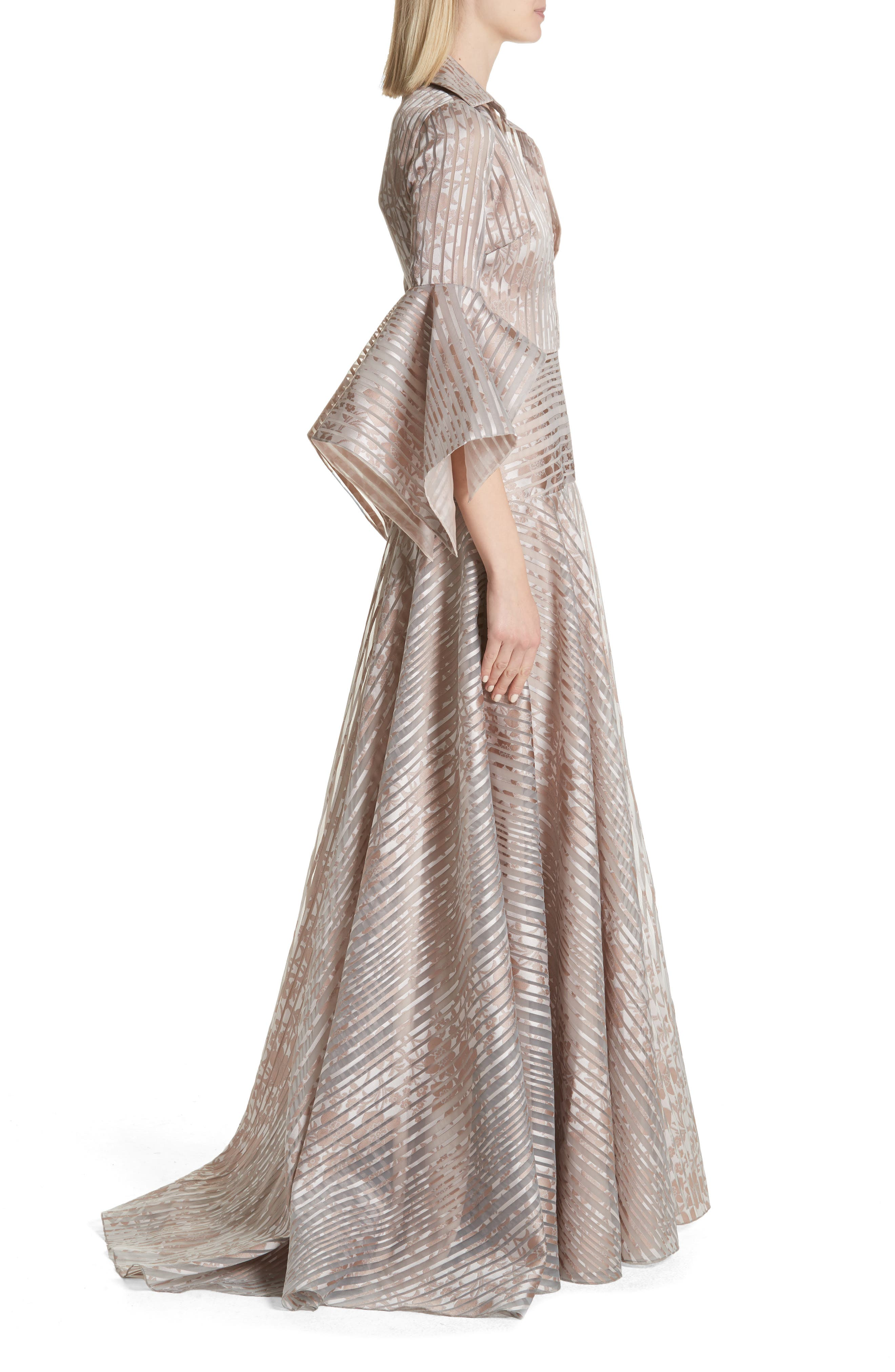Platinum Metallic Texture Stripe Organza Gown,                             Alternate thumbnail 3, color,                             MAUVE