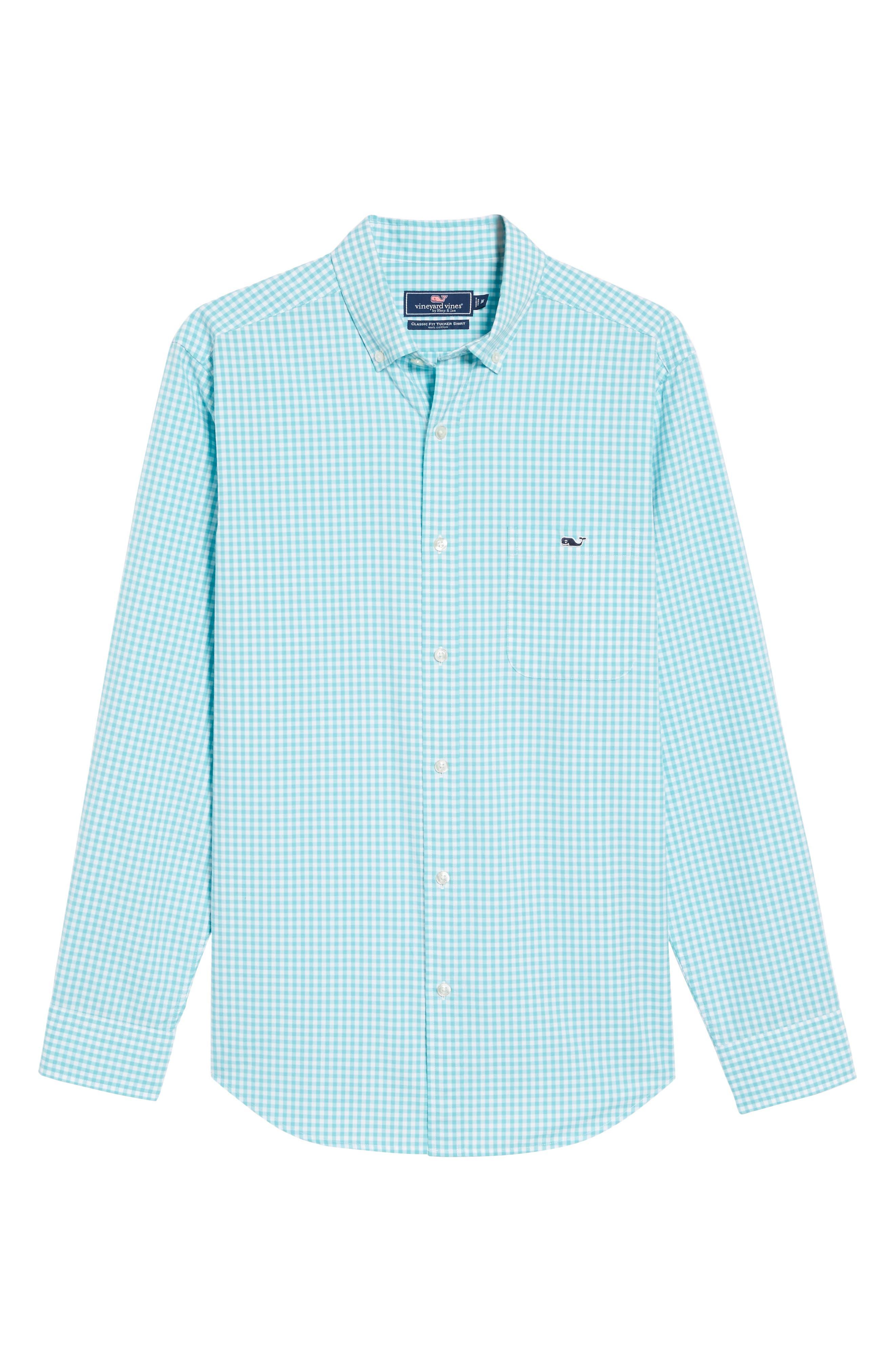 VINEYARD VINES,                             Seafloor Tucker Gingham Sport Shirt,                             Alternate thumbnail 6, color,                             302