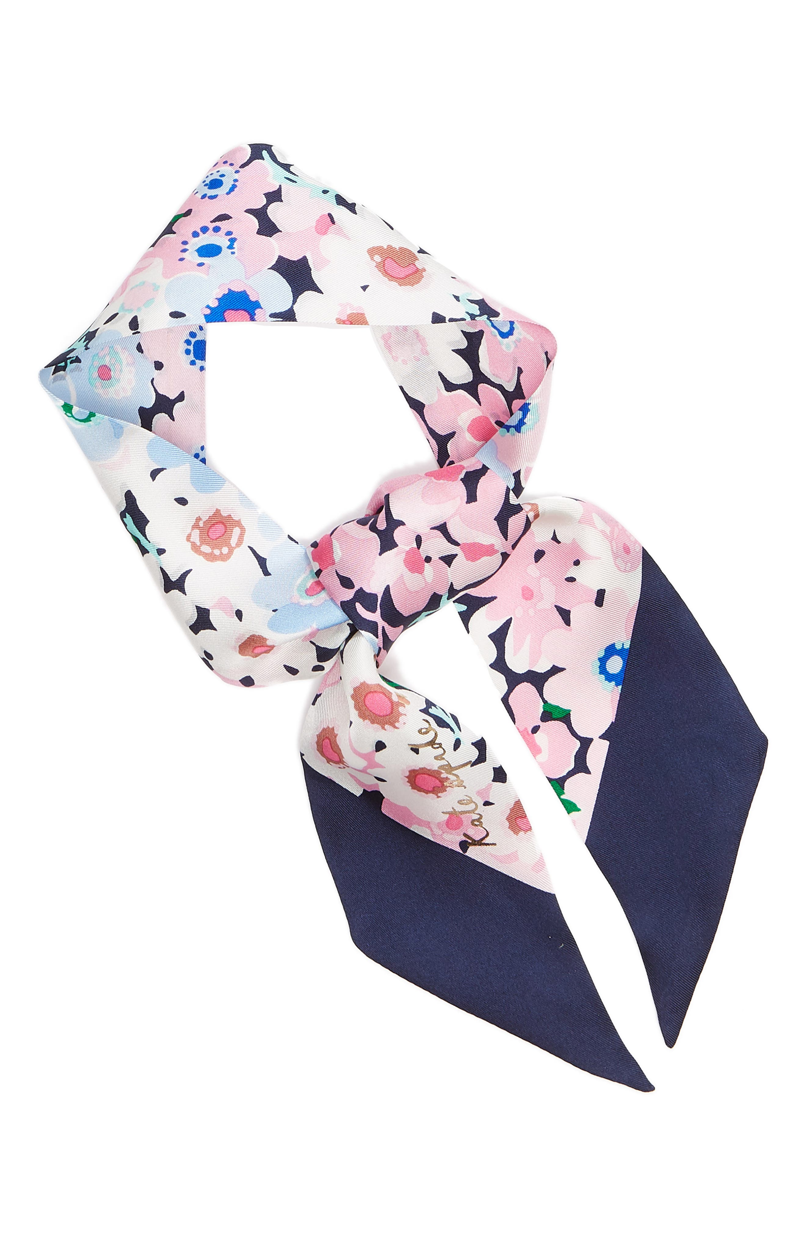 daisy garden skinny silk scarf,                             Alternate thumbnail 2, color,                             415