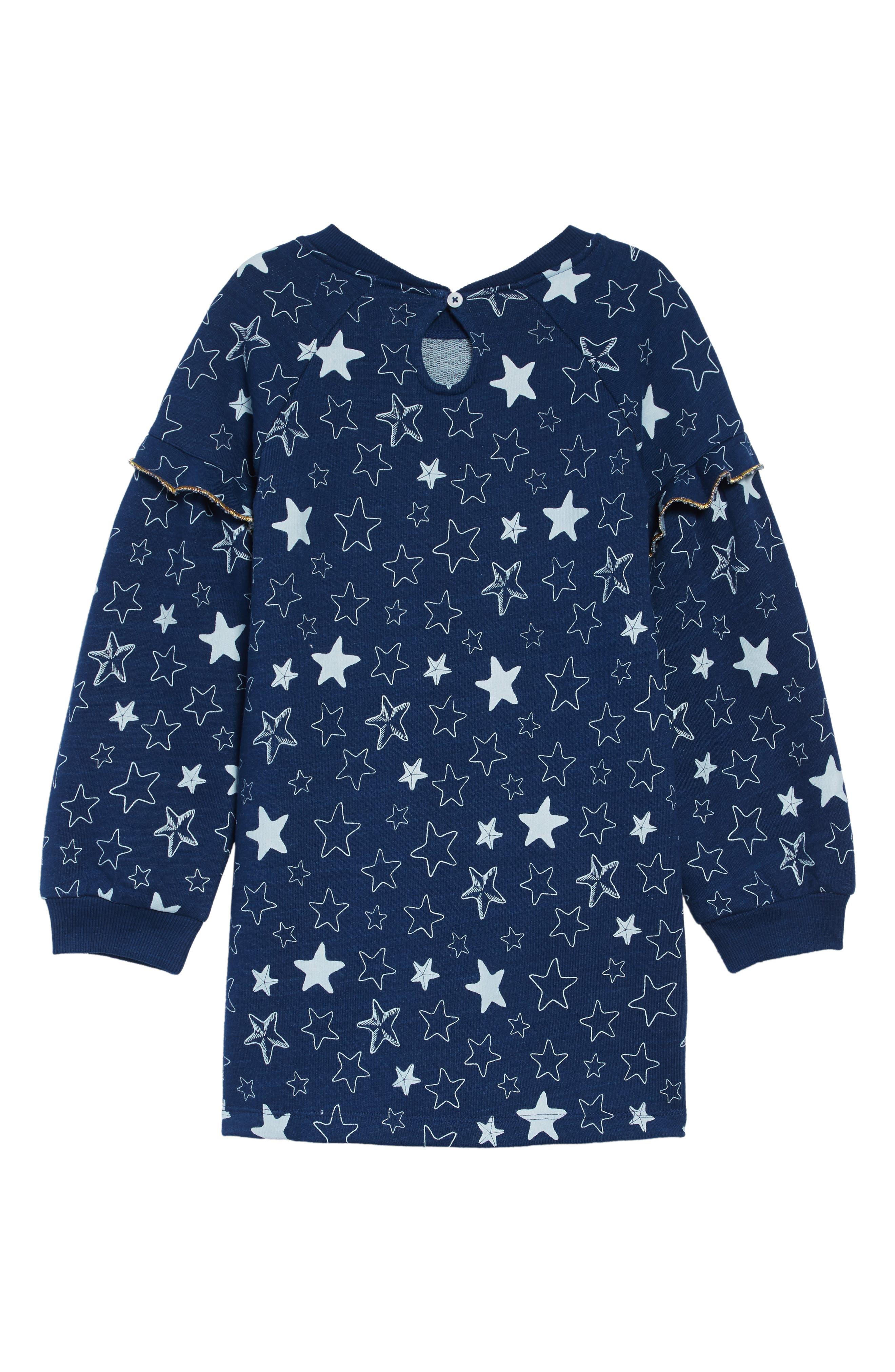 Starfish Sweatshirt Dress,                             Alternate thumbnail 2, color,                             BLUE