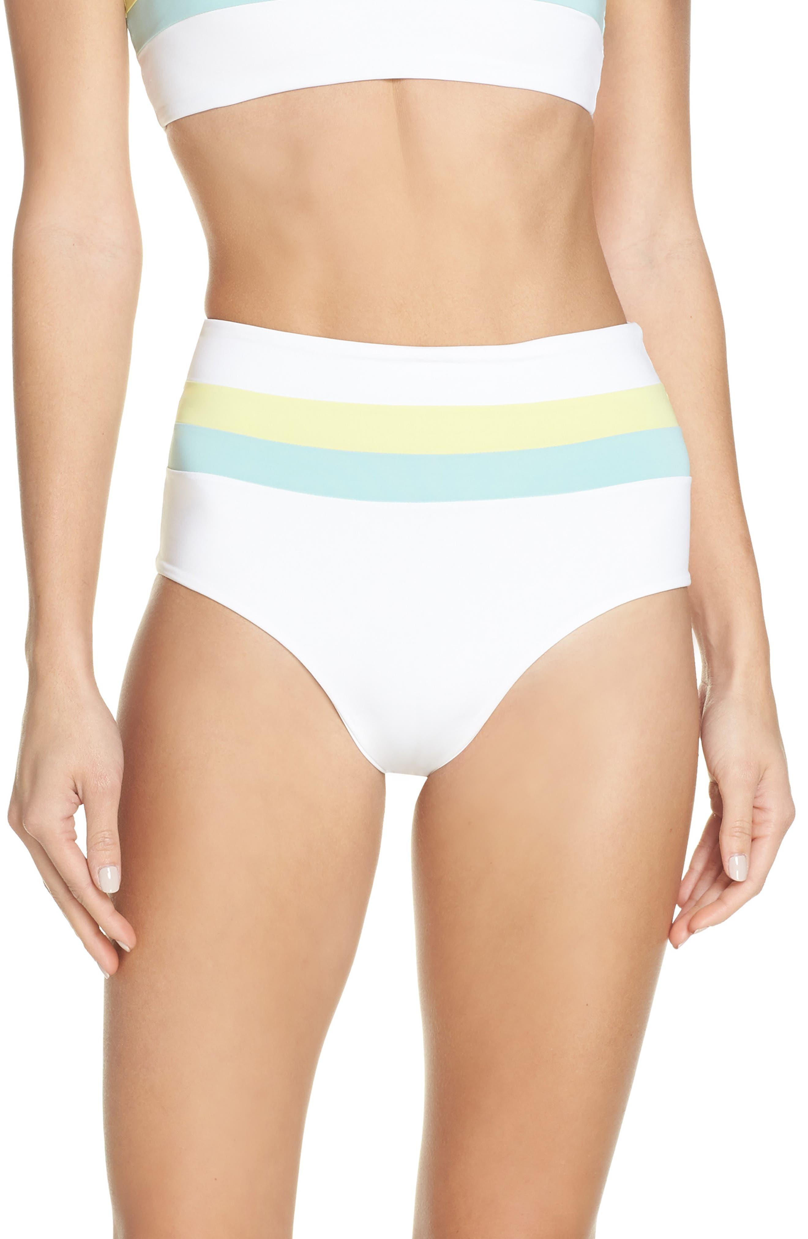 L SPACE Portia Reversible High Waist Bikini Bottoms, Main, color, WHITE/ LIGHT TURQ/ LEMONADE