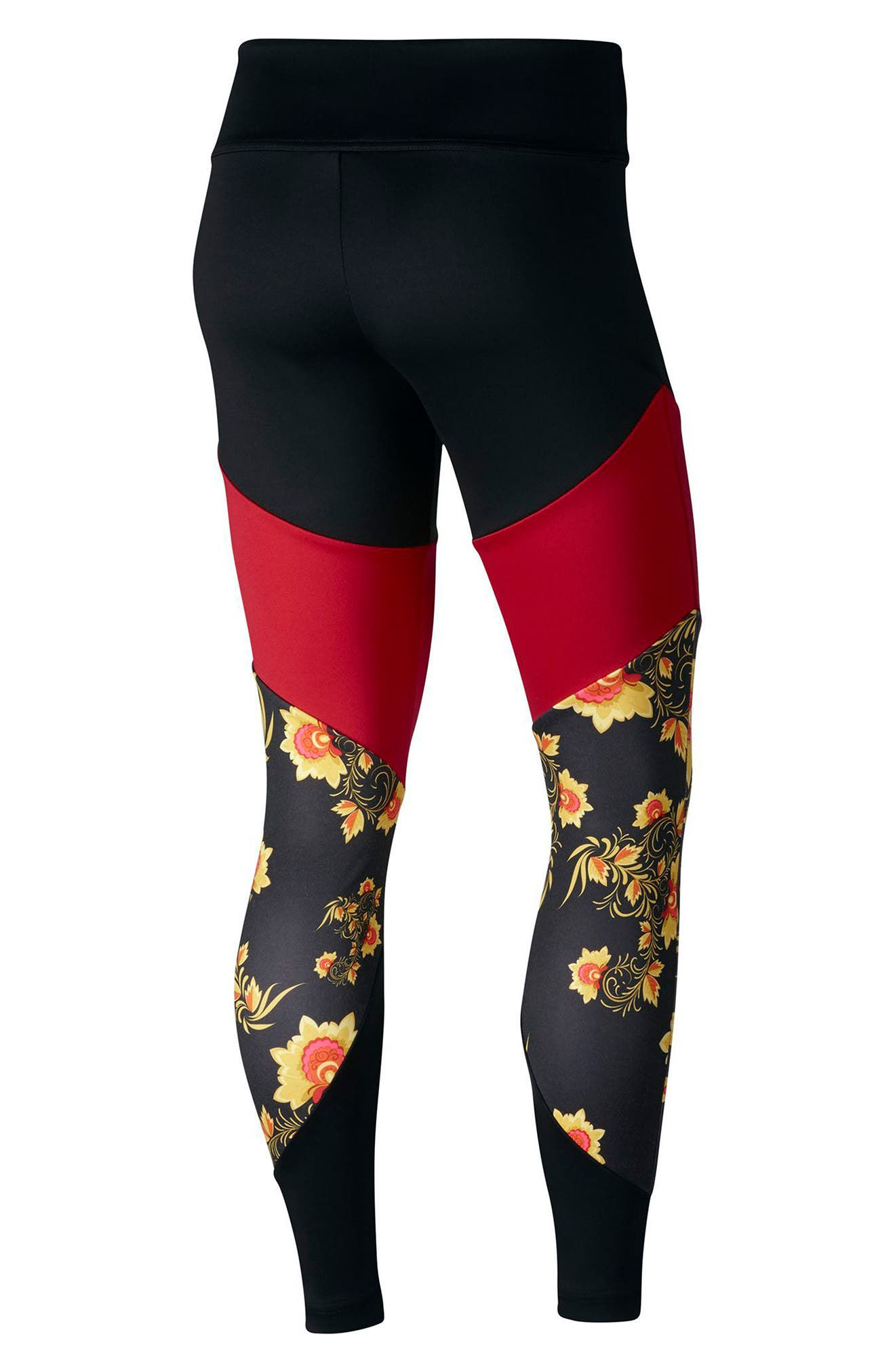 Sportswear Essential Colorblock Floral Women's Leggings,                             Alternate thumbnail 2, color,                             010