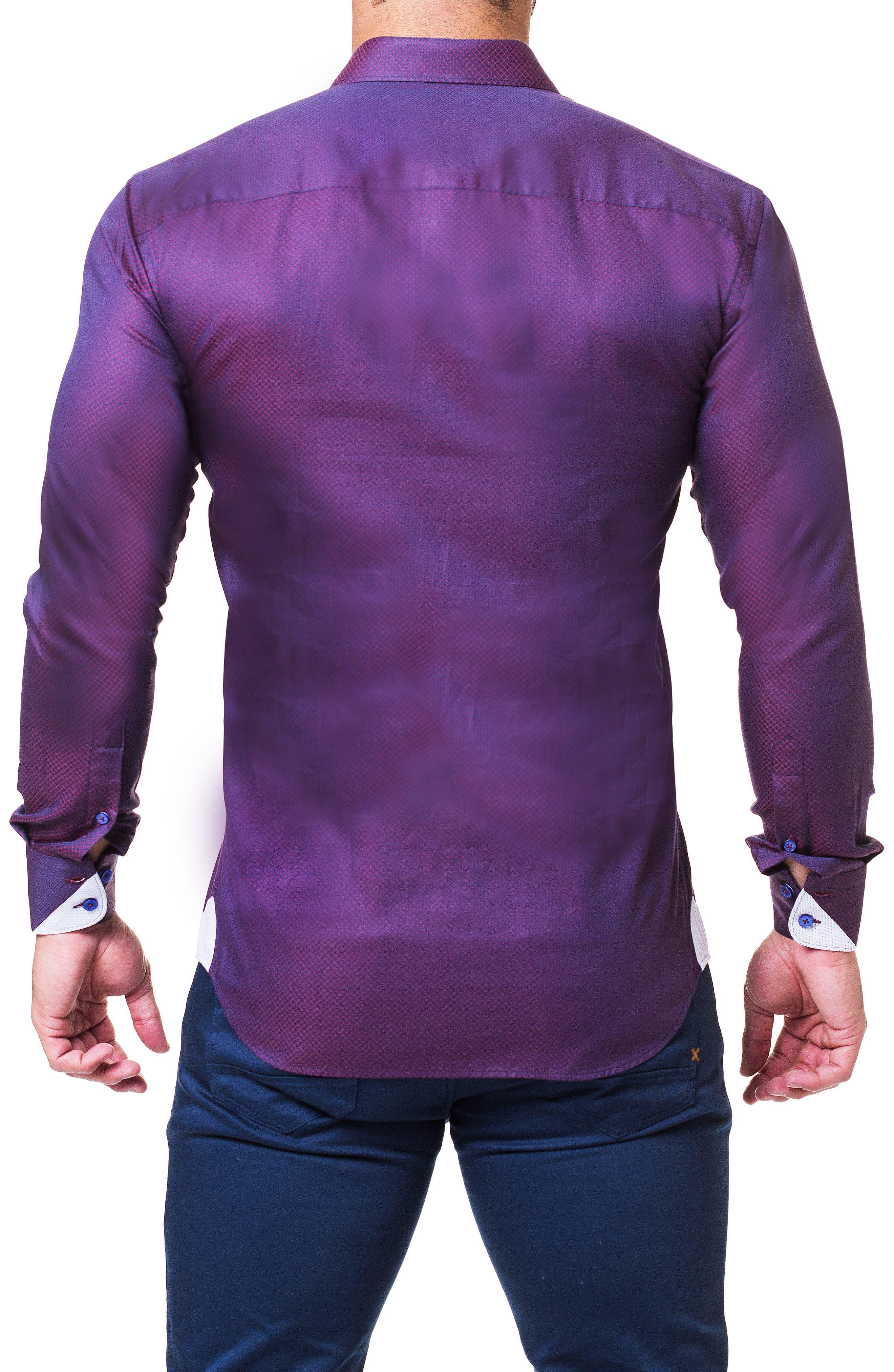 Einstein Dot Trim Fit Sport Shirt,                             Alternate thumbnail 2, color,                             RED