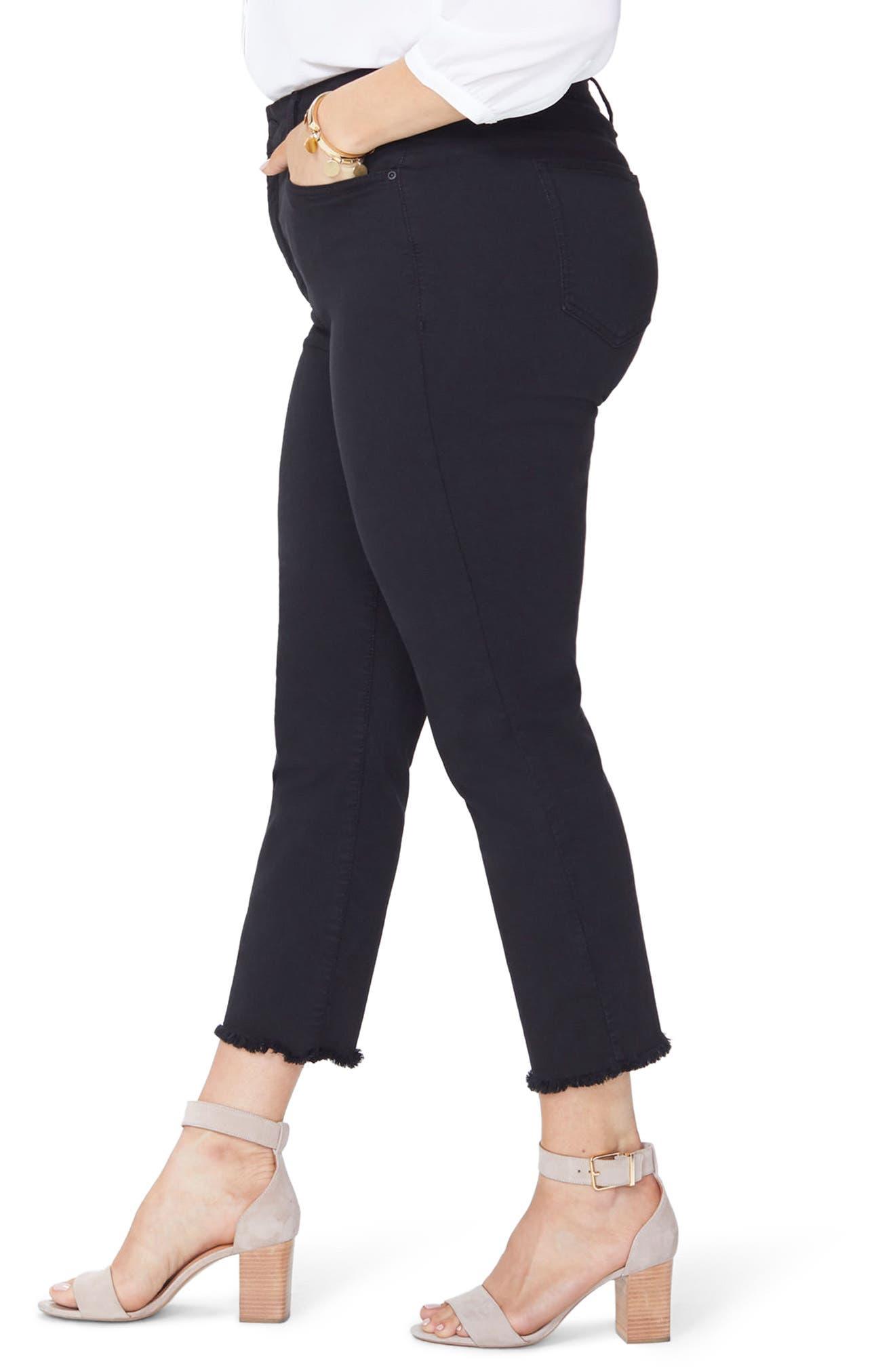 Sheri High Rise Fray Hem Stretch Slim Ankle Jeans,                             Alternate thumbnail 3, color,                             BLACK
