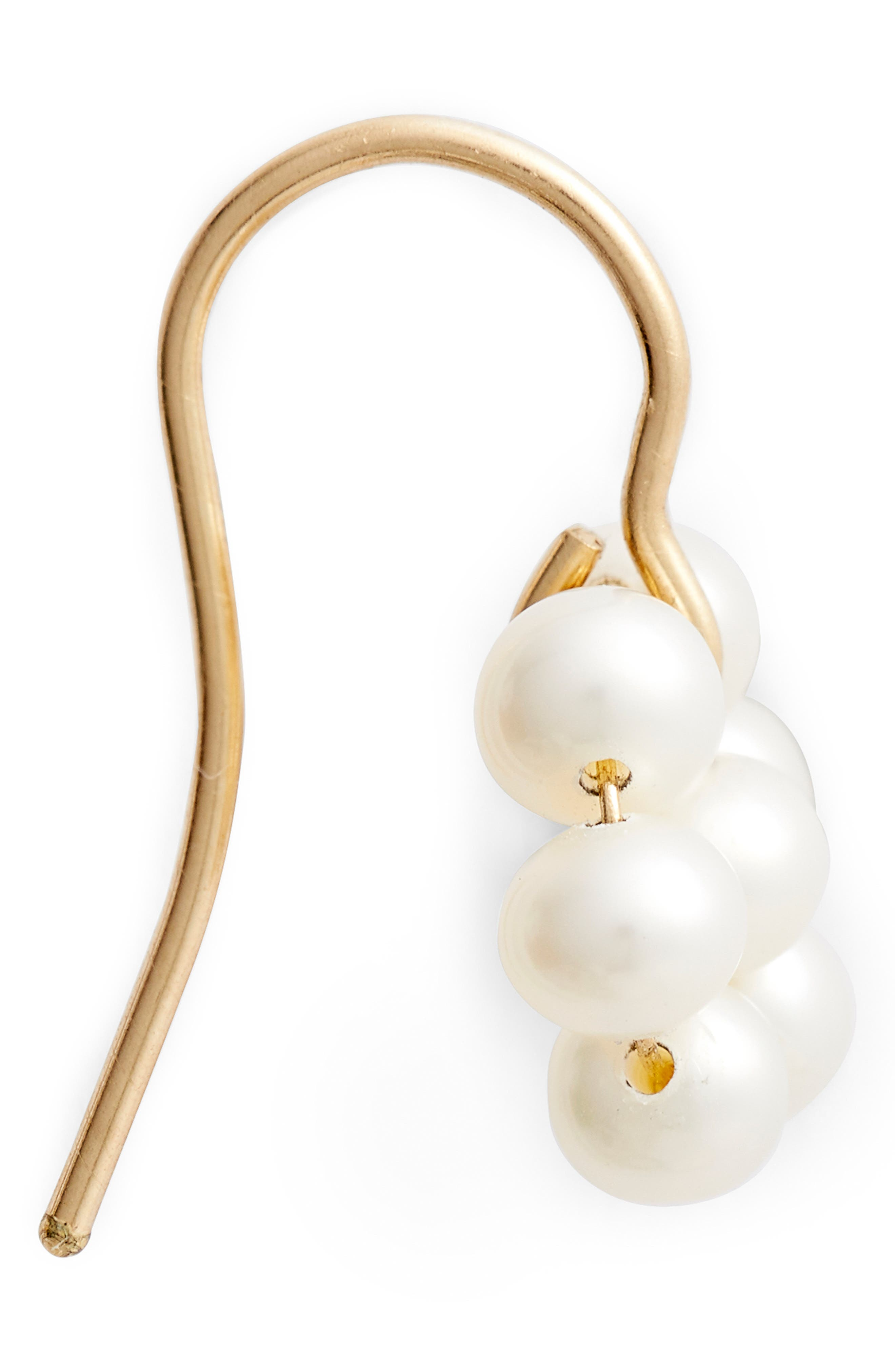 Cultured Pearl Flower Earrings,                             Alternate thumbnail 4, color,                             YELLOW GOLD/ WHITE PEARL