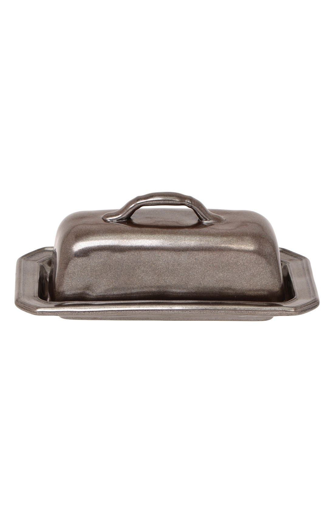 Pewter Stoneware Butter Dish,                             Main thumbnail 1, color,                             PEWTER