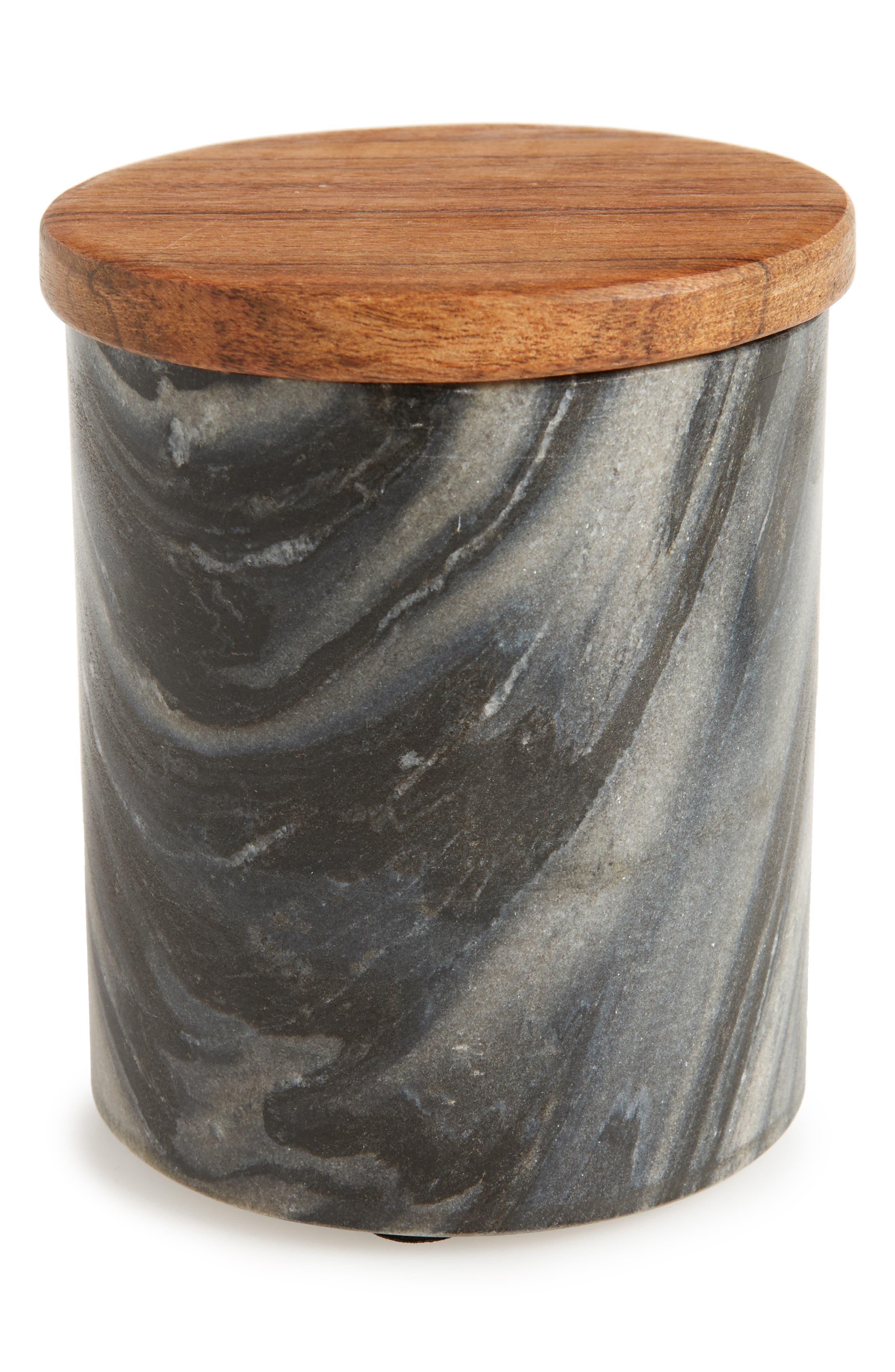 Marble & Mango Wood Jar,                             Main thumbnail 1, color,                             001