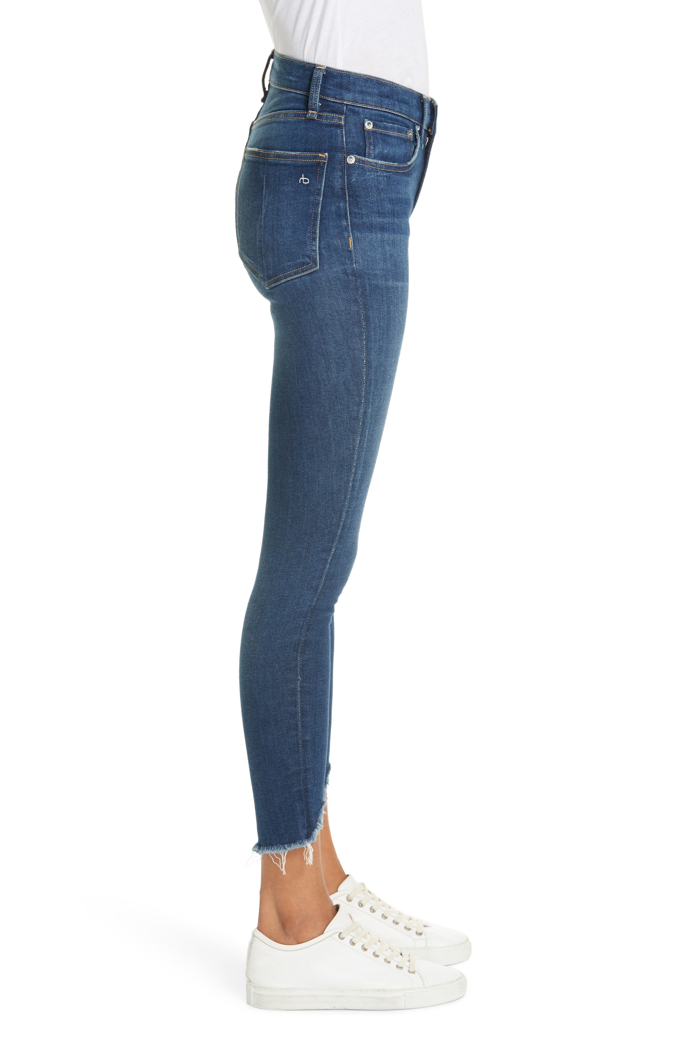 High Waist Fray Crop Skinny Jeans,                             Alternate thumbnail 3, color,                             LENOX