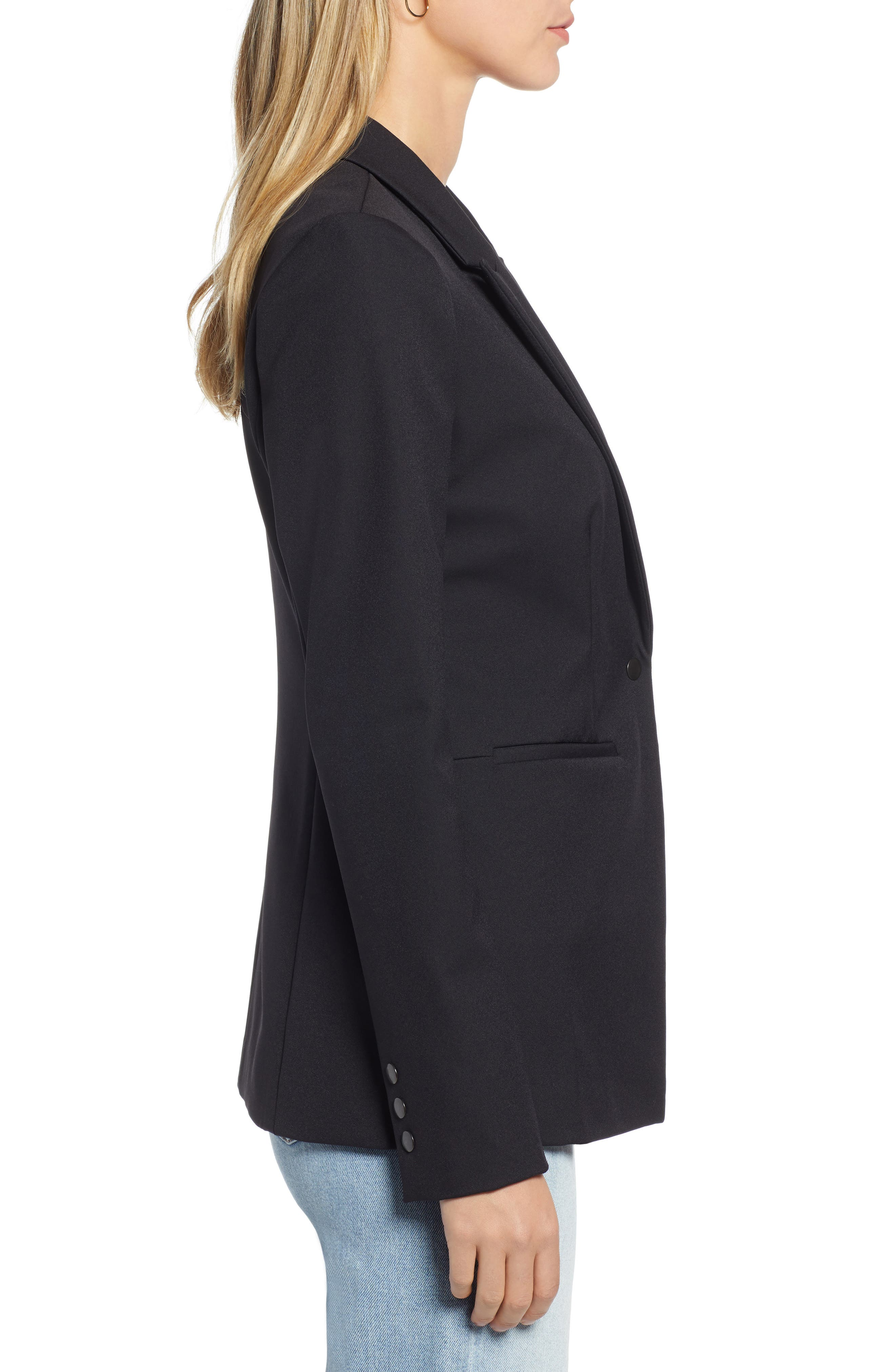 Fitted Blazer,                             Alternate thumbnail 3, color,                             001