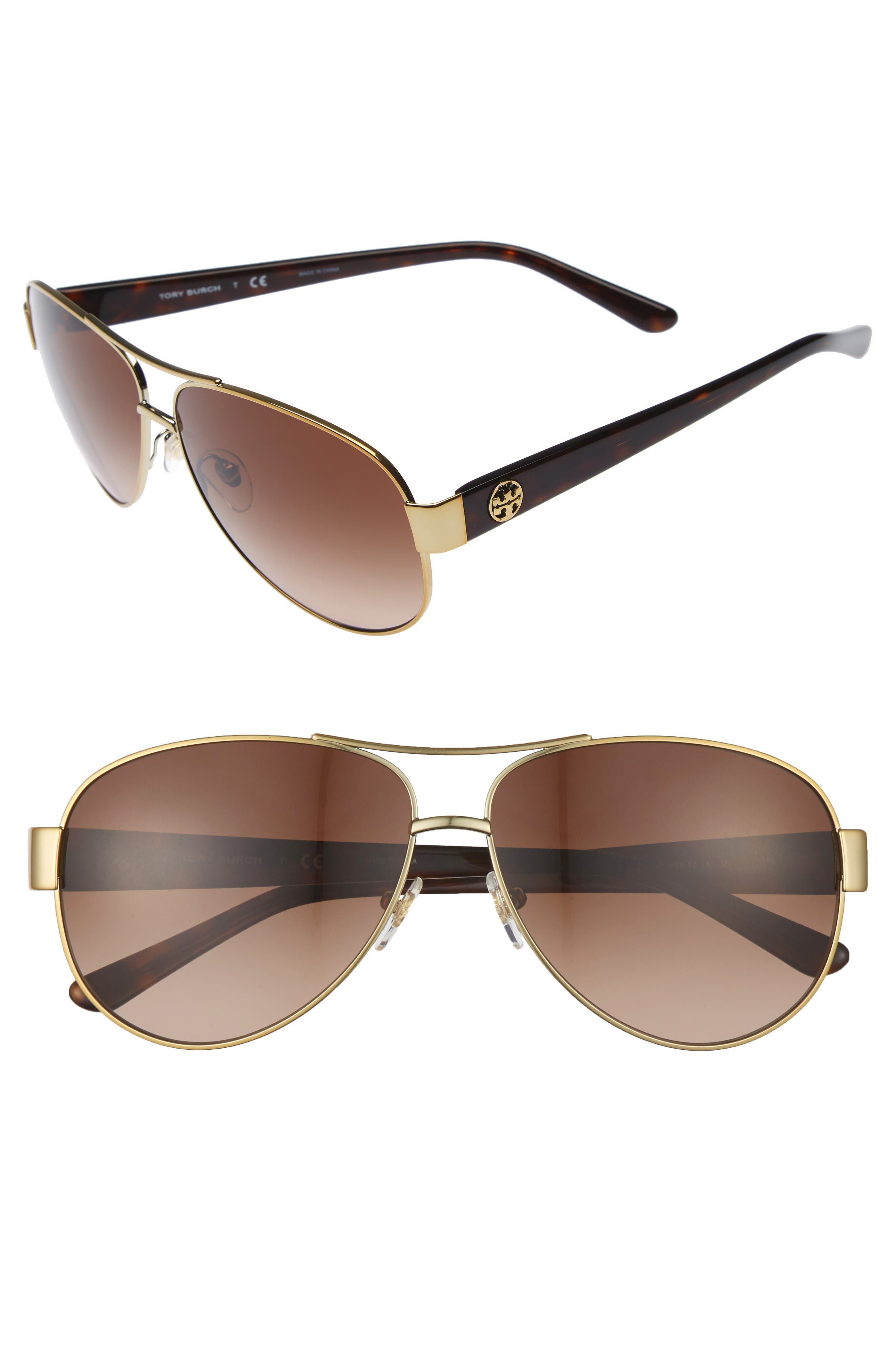 60mm Aviator Sunglasses,                         Main,                         color, GOLD/ BROWN