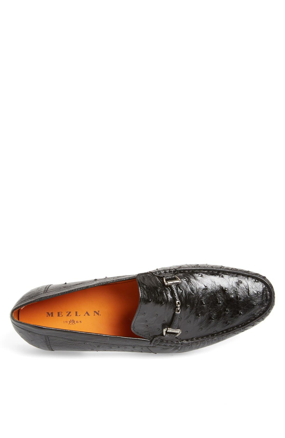 'Vittorio' Ostrich Leather Bit Loafer,                             Alternate thumbnail 3, color,                             BLACK