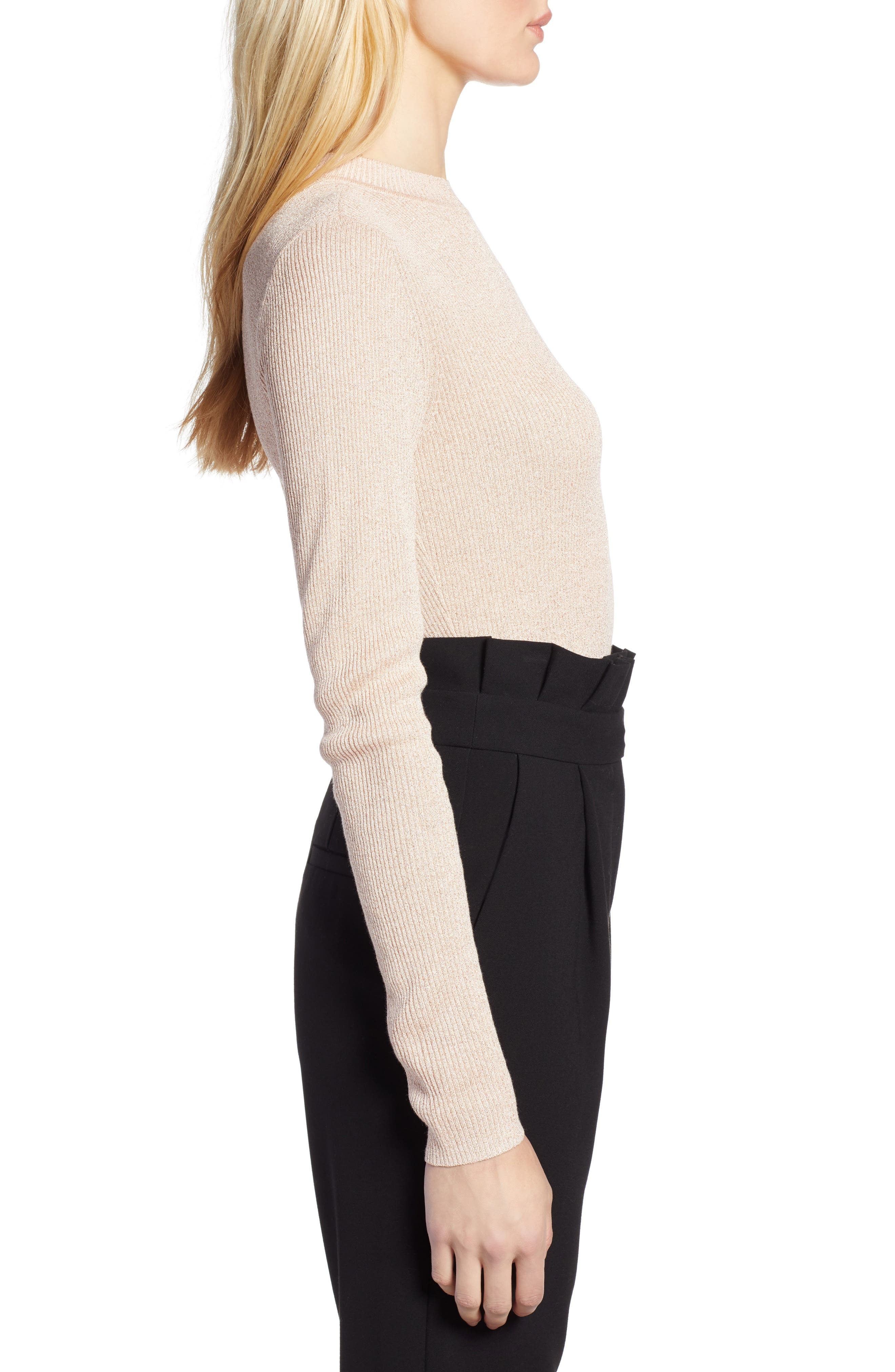 x Atlantic-Pacific Ribbed Shimmer Top,                             Alternate thumbnail 3, color,                             PINK GLOW