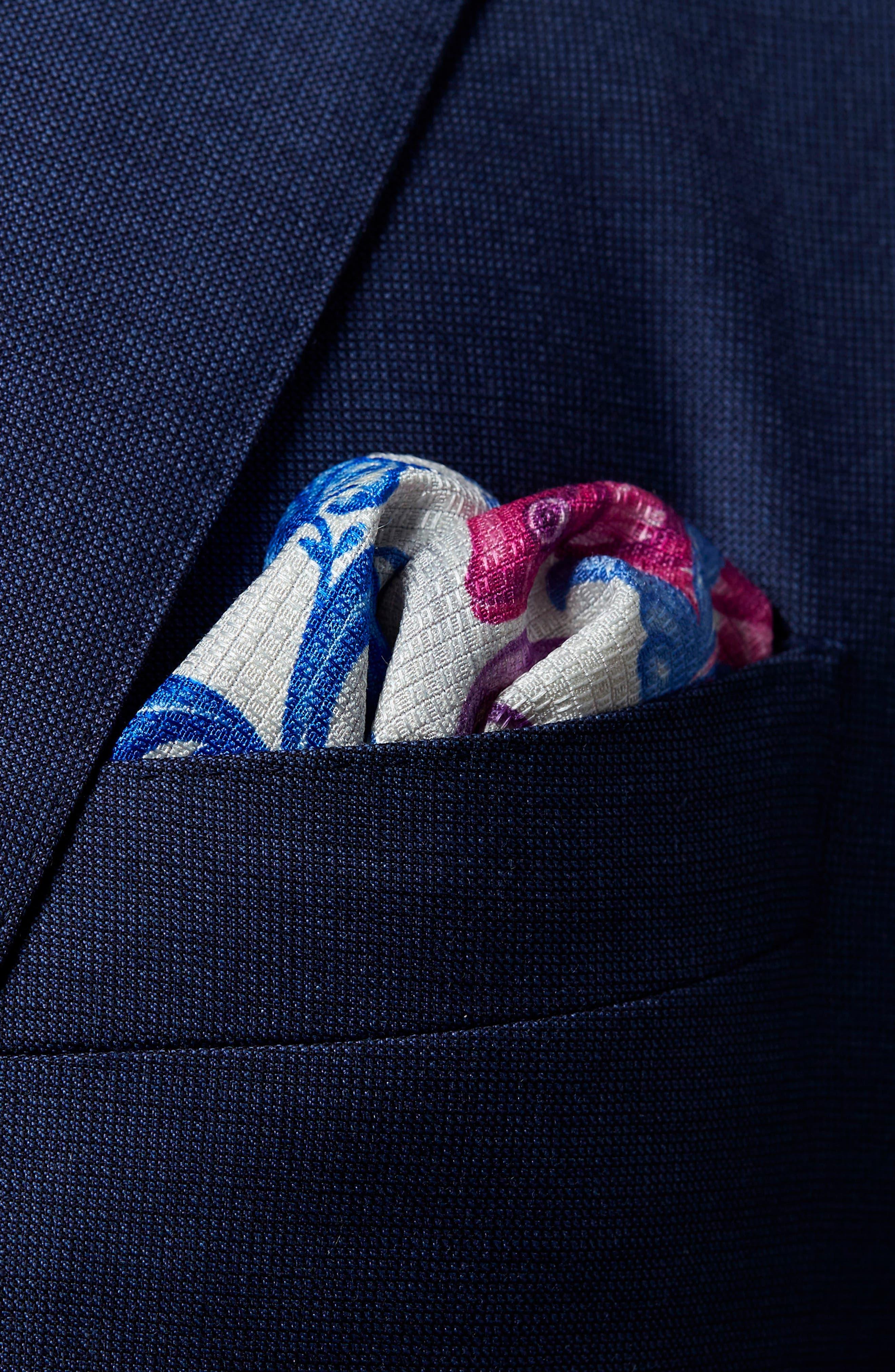 Koi Silk Pocket Square,                             Alternate thumbnail 3, color,                             PURPLE