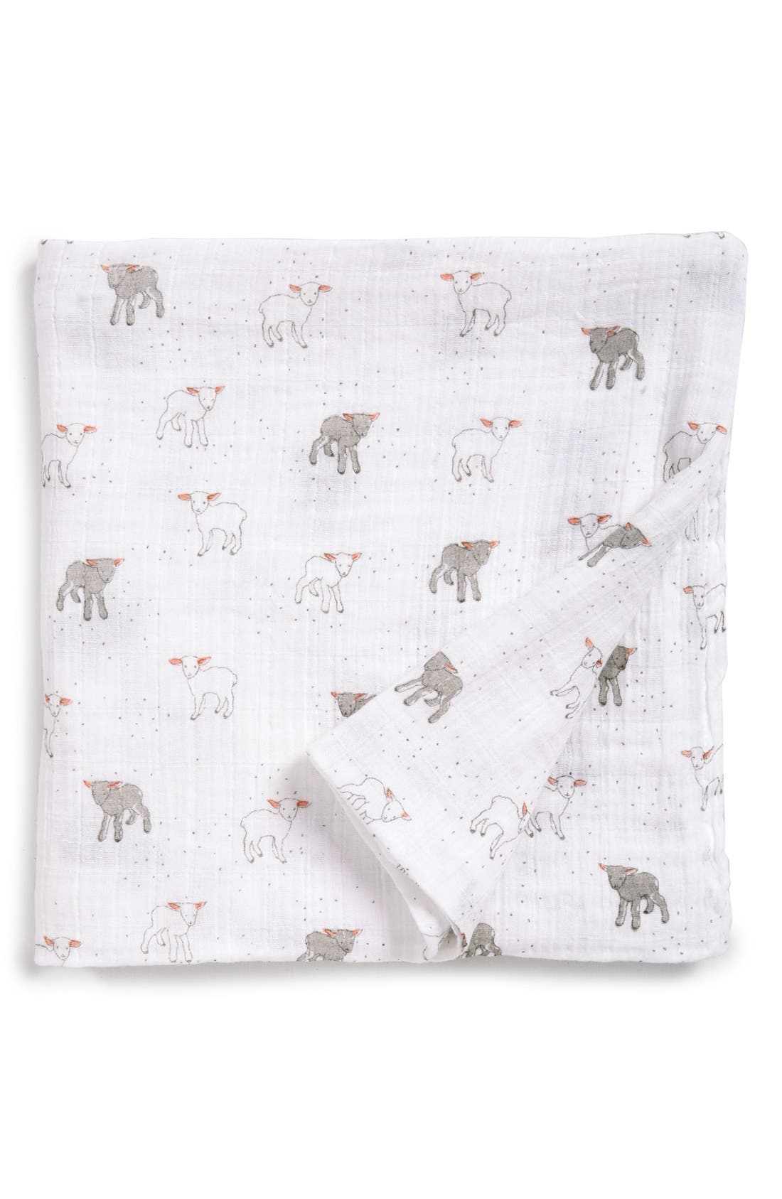 Little Lamb Swaddle Blanket,                             Main thumbnail 1, color,                             WHITE