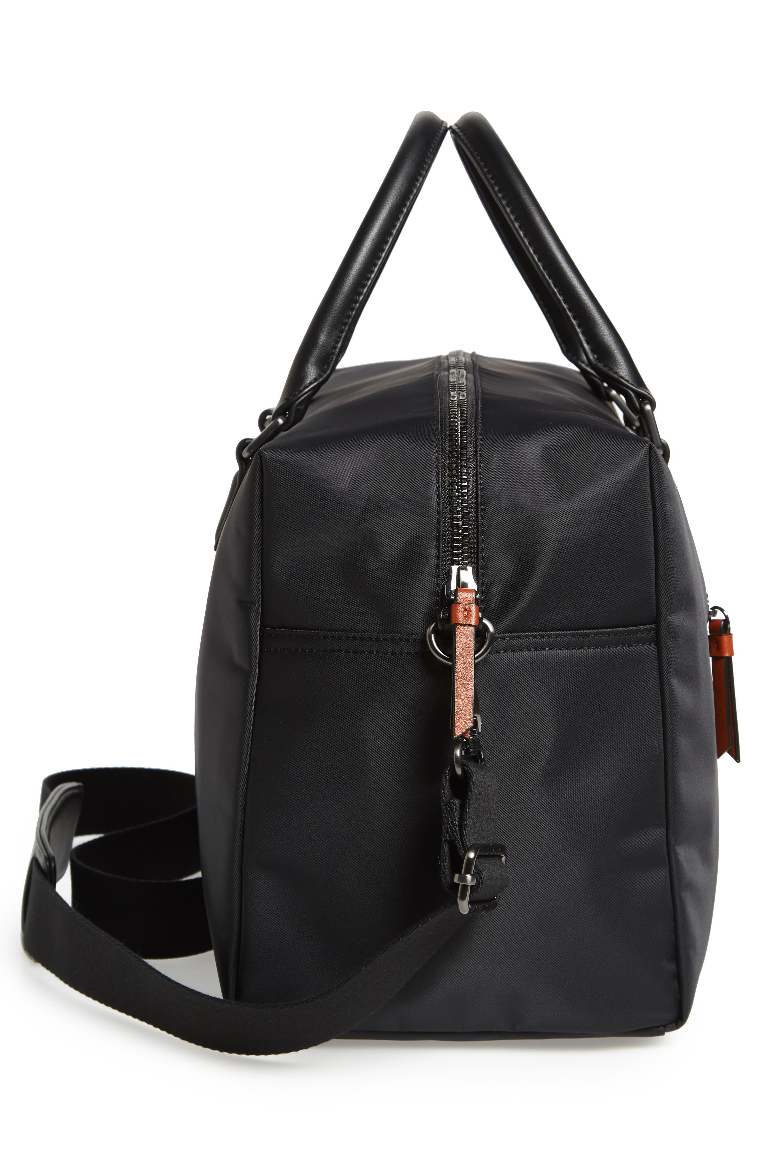Nylon Duffel Bag,                             Alternate thumbnail 5, color,                             BLACK