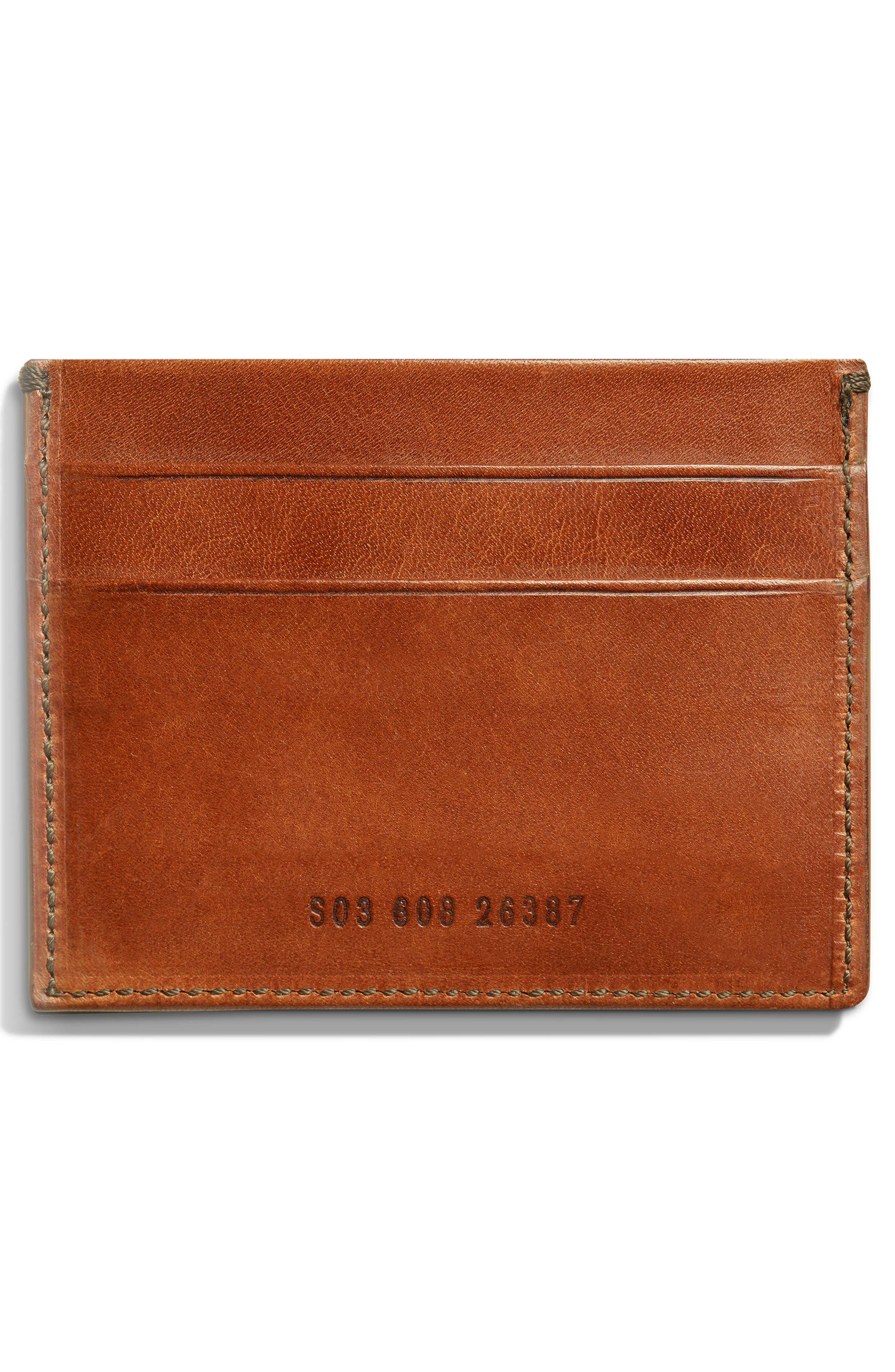Harness Leather Card Case,                             Alternate thumbnail 2, color,                             BOURBON