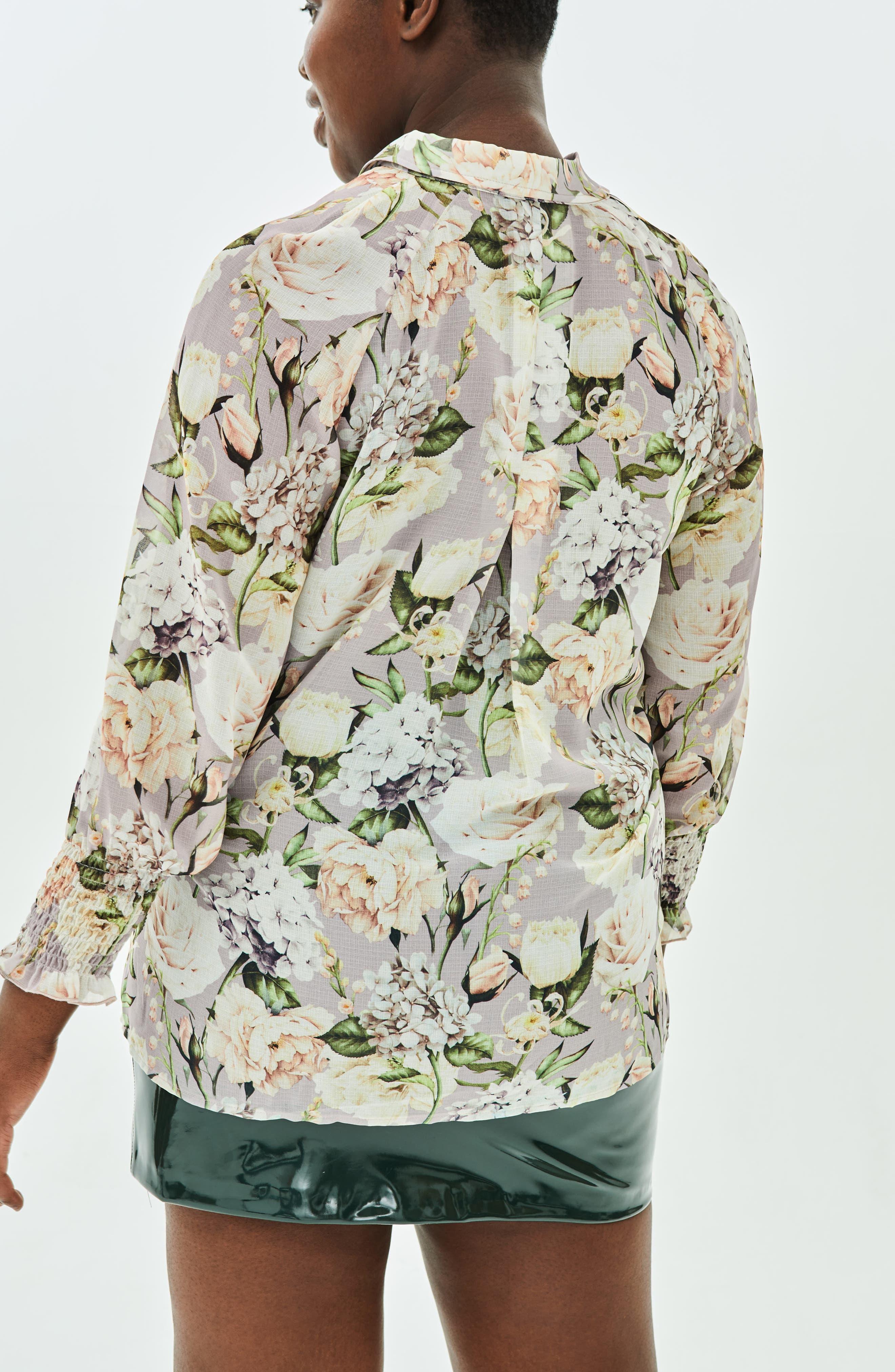 The Talinum Floral Zip Shirt,                             Alternate thumbnail 8, color,                             PURPLE