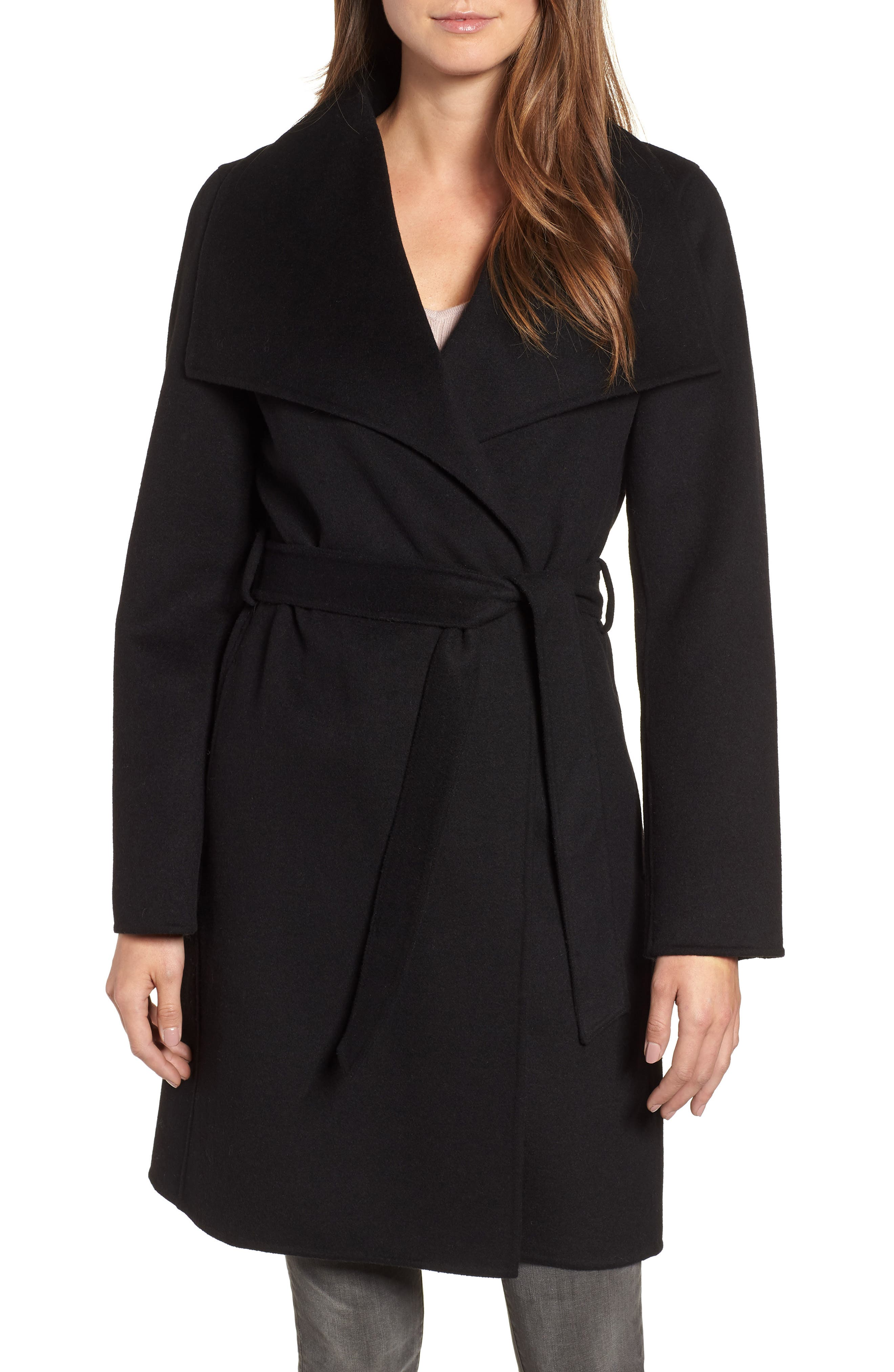 Ellie Double Face Wool Blend Wrap Coat,                             Main thumbnail 1, color,                             BLACK