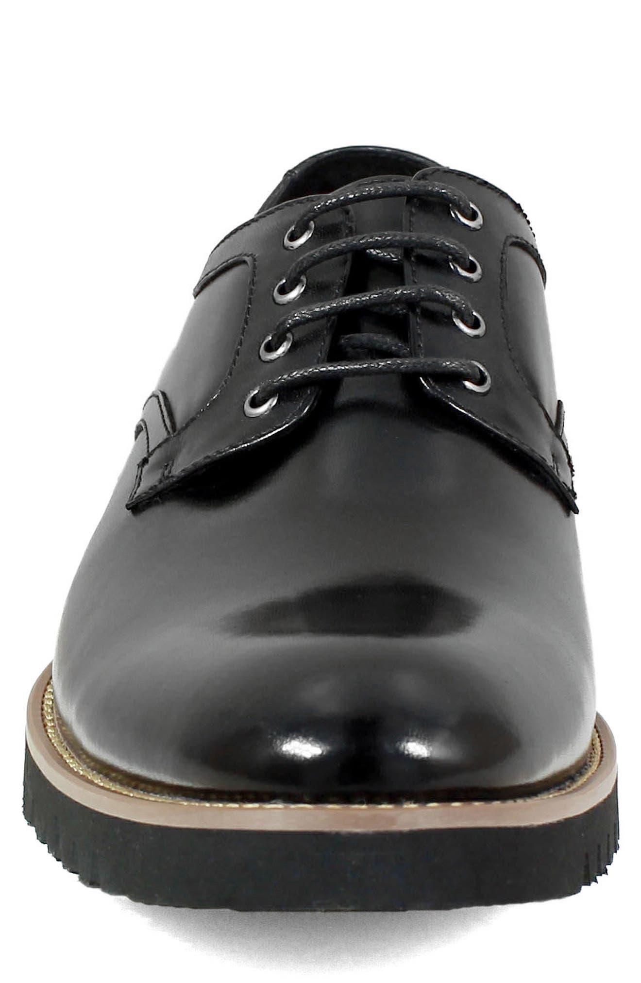 Barclay Plain Toe Derby,                             Alternate thumbnail 4, color,                             BLACK LEATHER