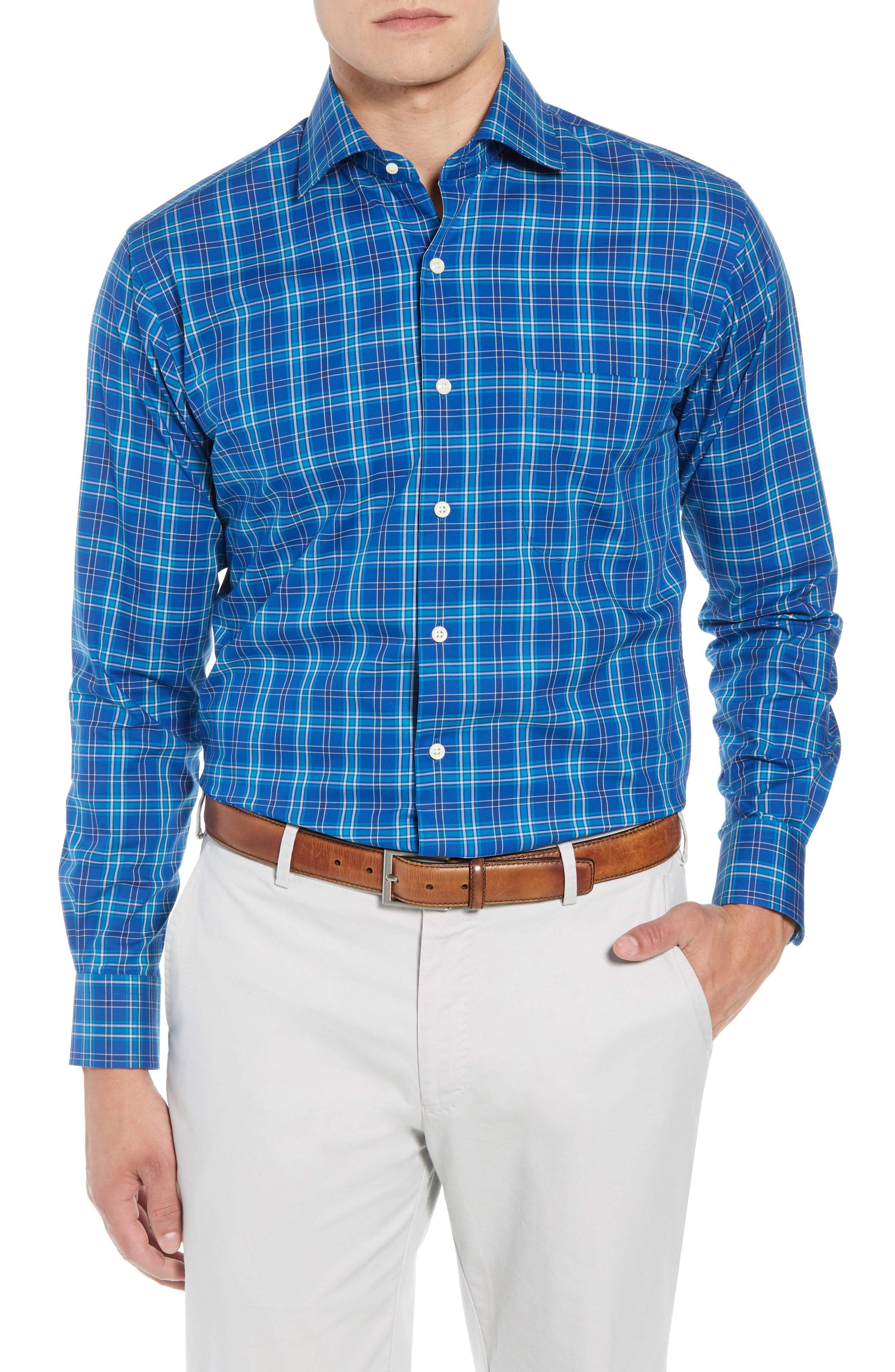 Crown Ease Salamanca Regular Fit Plaid Sport Shirt,                         Main,                         color, BLUE