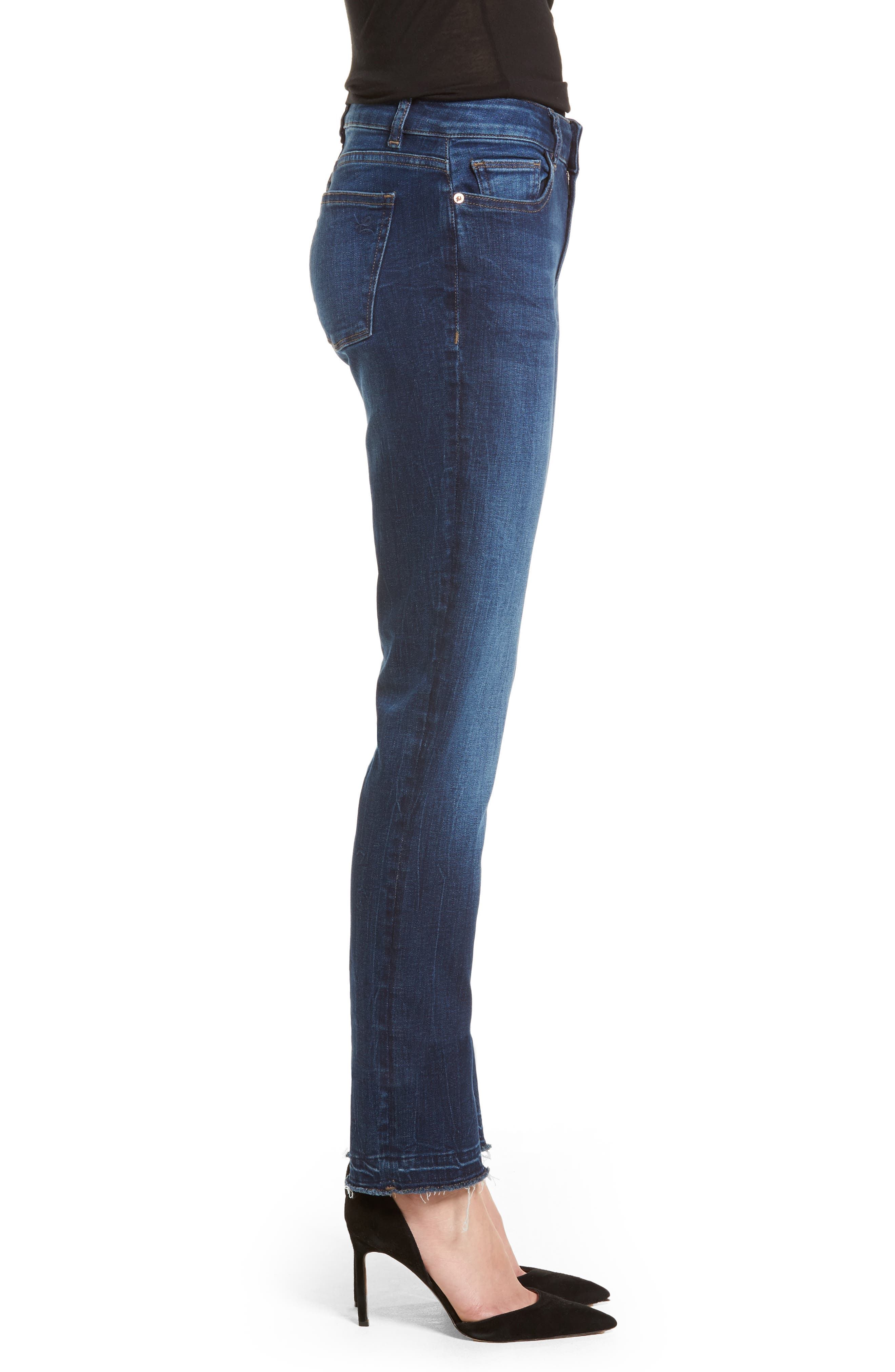 Coco Curvy Slim Straight Leg Jeans,                             Alternate thumbnail 3, color,                             405